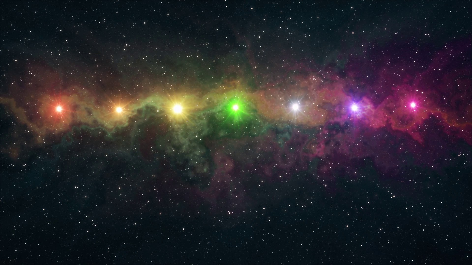 1920x1080 seven rainbow colored stars flickering shine in soft moving nebula night  sky animation background new quality nature scenic cool colorful nice light  ...
