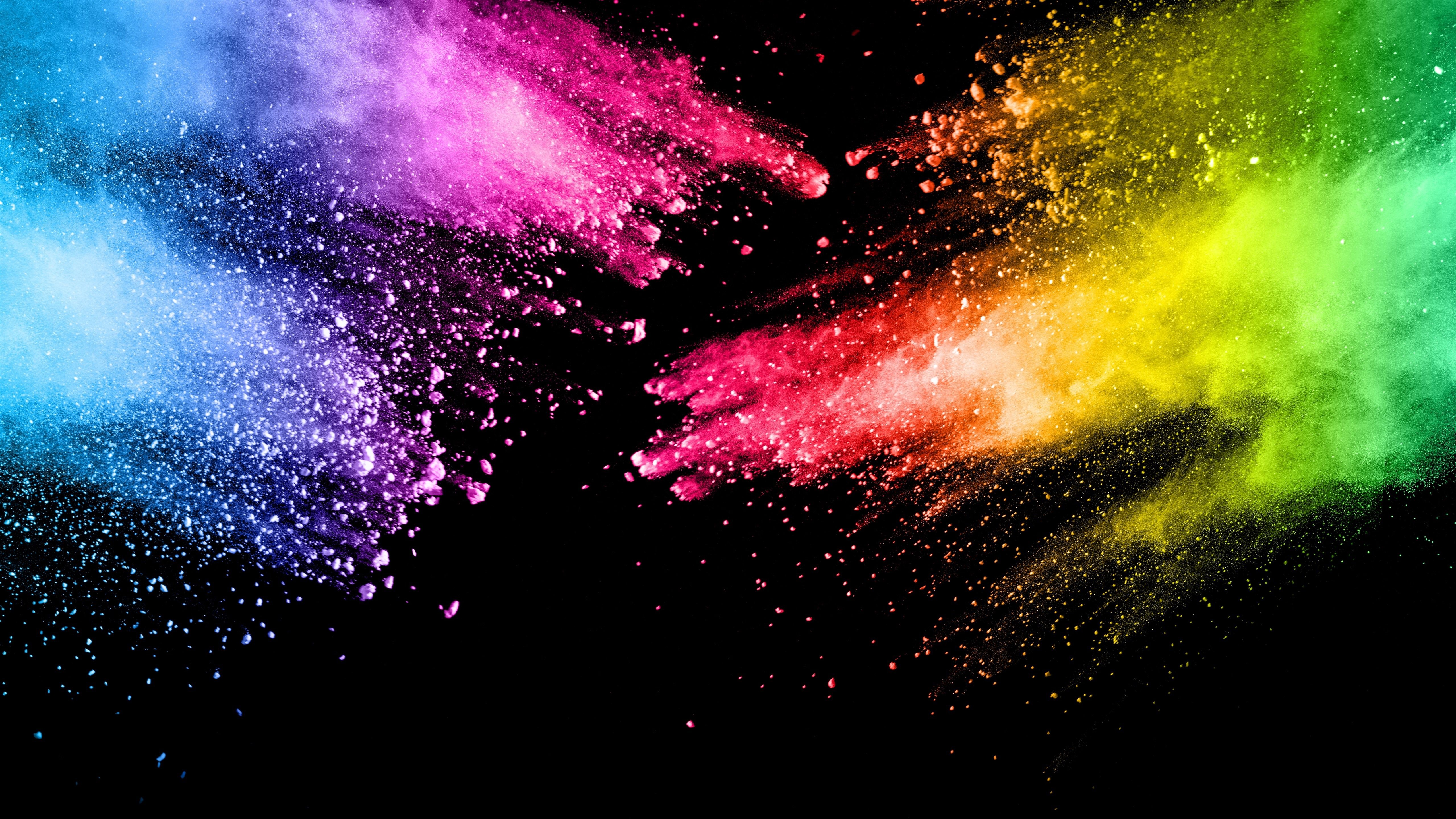 5120x2880 Wallpaper Colorful paint, splash, rainbow colors, abstract ...