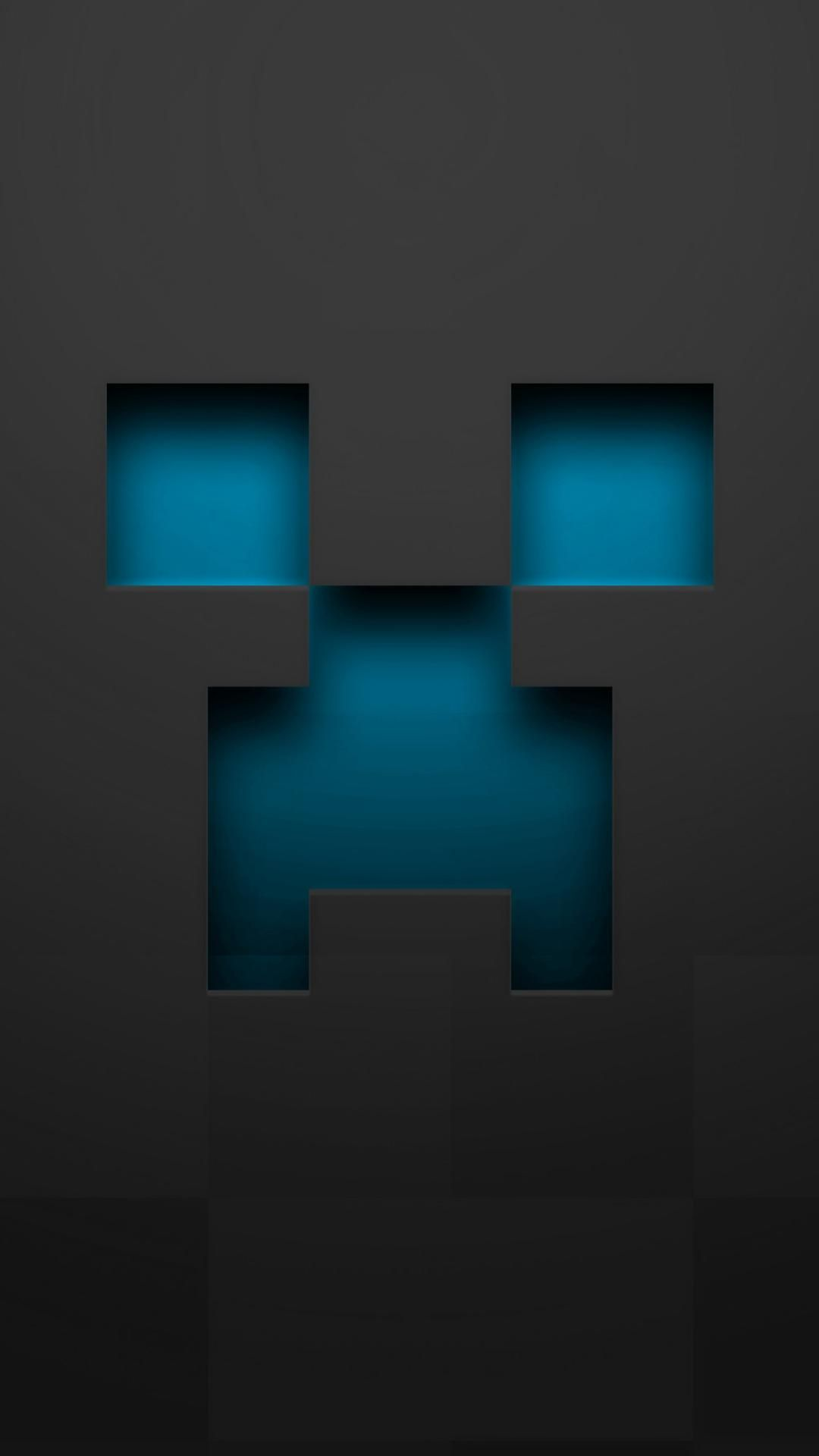 1080x1920 Minecraft blue creeper gray pixelart wallpaper | iPhone ...