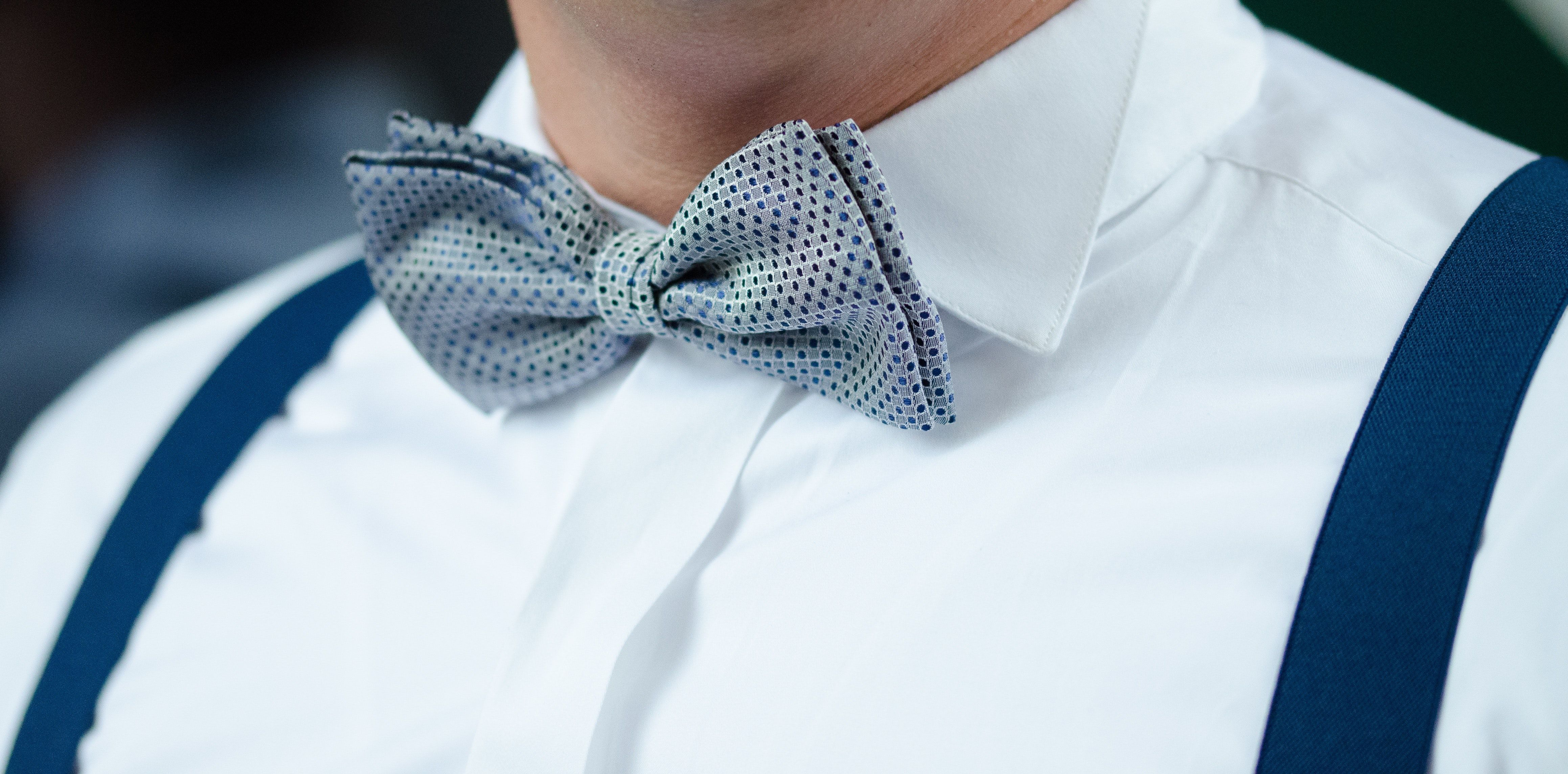 4635x2289 Man in White Dress Shirt Blue Suspenders and Gray Polka ...