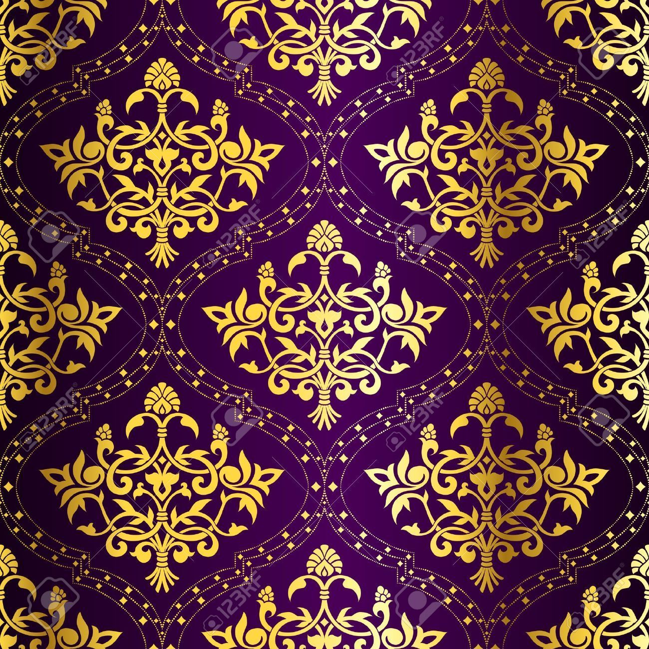 1300x1300 4920146-Gold-on-Purple-seamless-Indian-floral-pattern-The-tiles-can ...