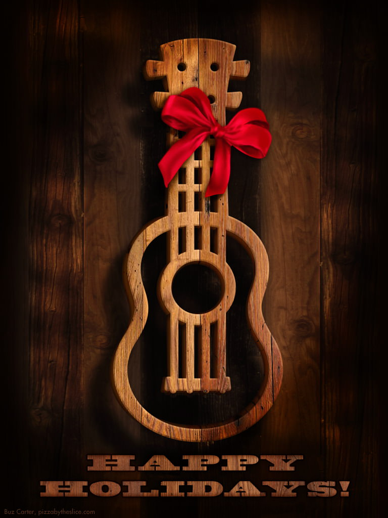 """768x1024 Ukulele """"Old West"""" Holiday iPad & iPhone Wallpapers 