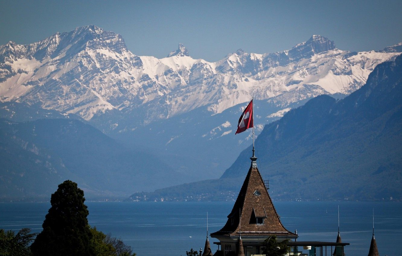 1332x850 Wallpaper snow, mountains, flag, Switzerland images for ...