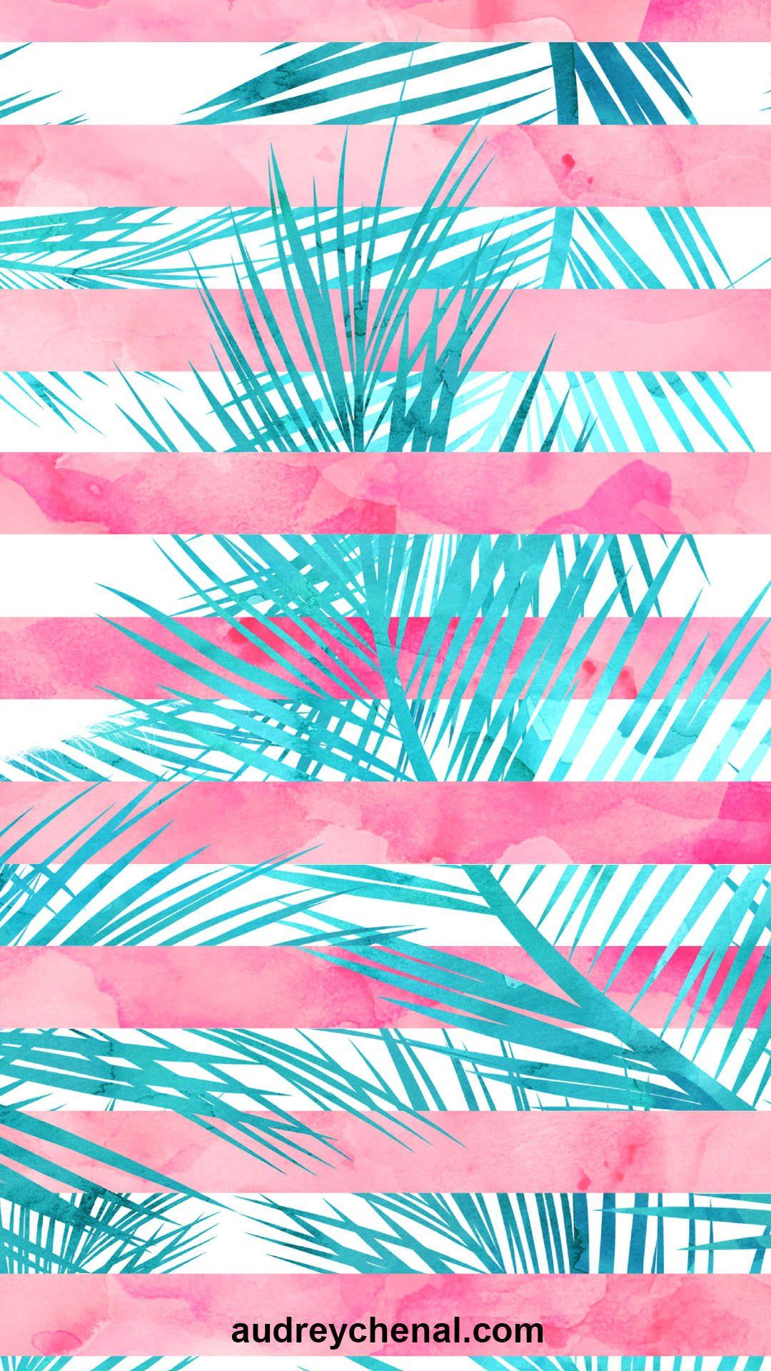 1080x1920 pink coral teal turquoise watercolor palm tree leaf pattern ...