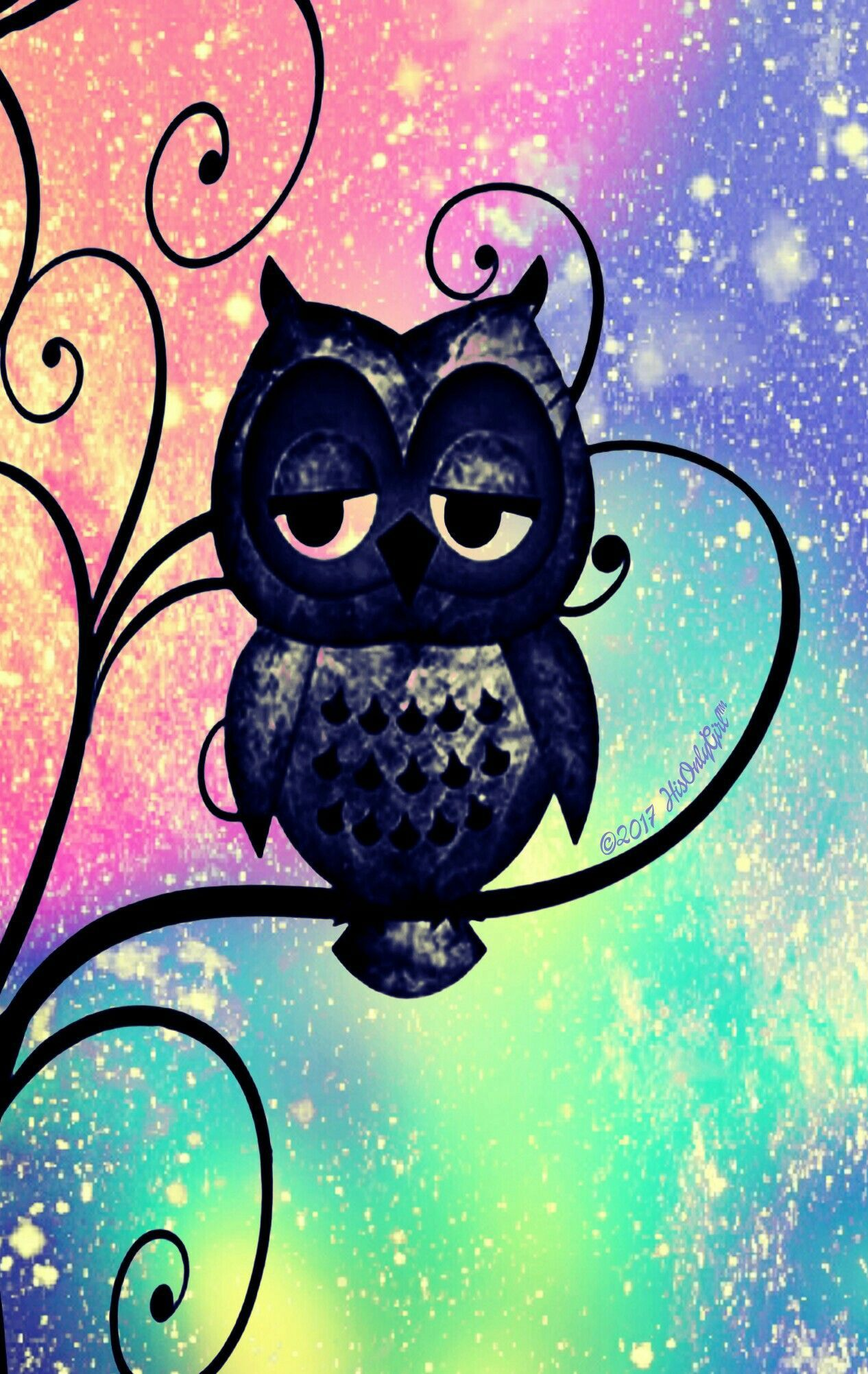 1266x2003 Rainbow owl galaxy iPhone/Android wallpaper I created for ...