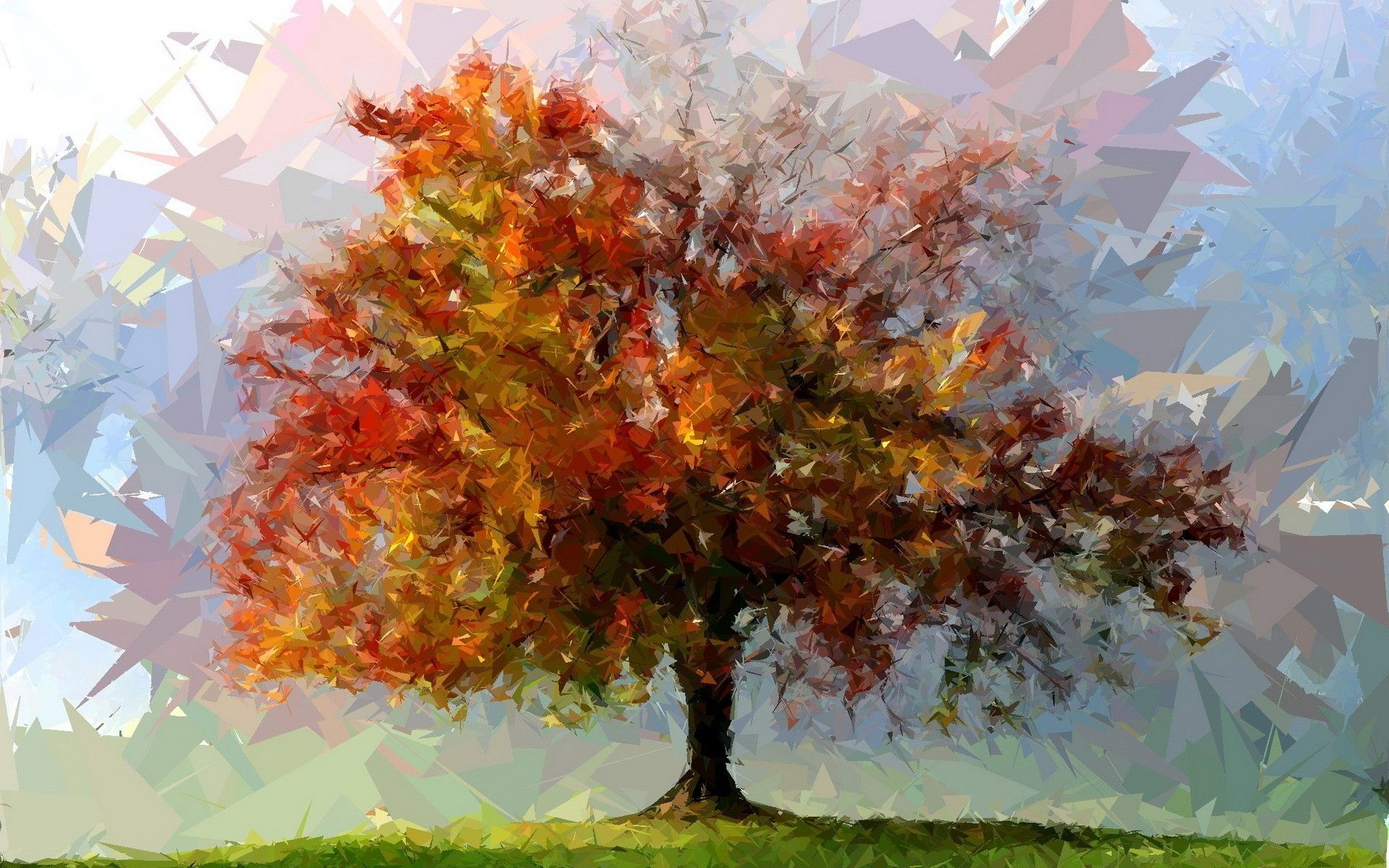 1920x1200 Painting Tree Art Abstract Fotosketcher Shattered Autumn ...