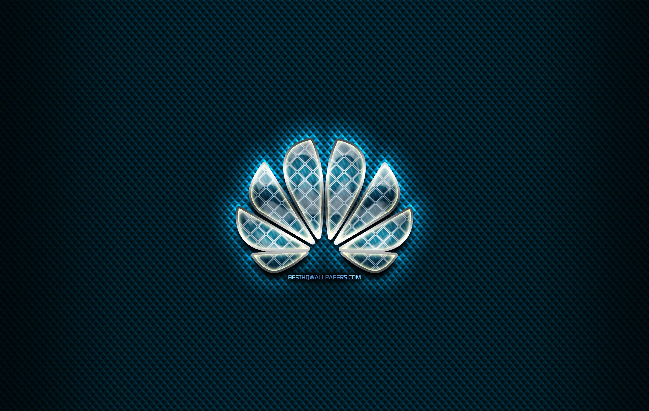 2560x1624 Download wallpapers Huawei glass logo, blue background ...