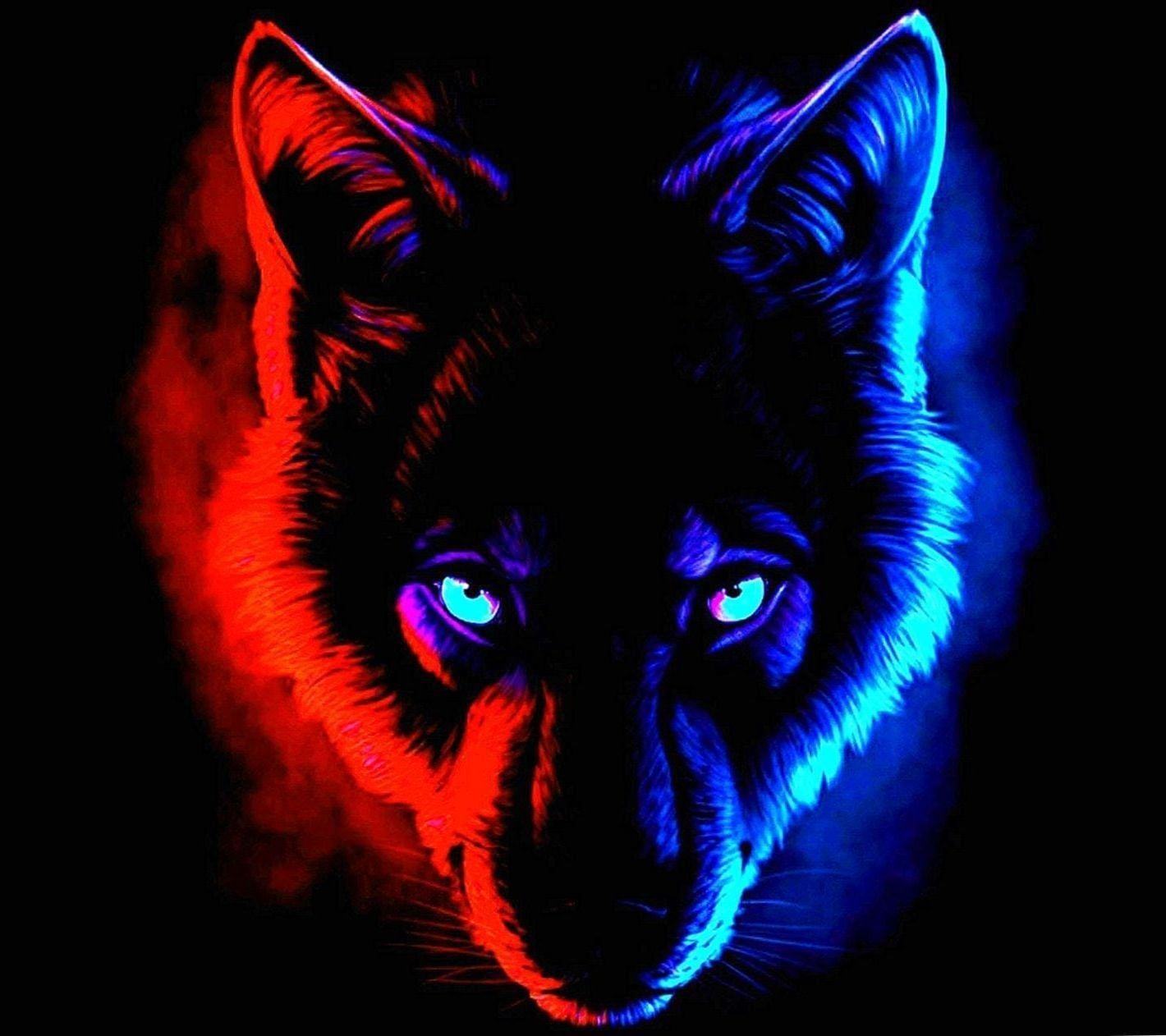 1420x1262 Blue And Red Wolf Wallpapers - Wolf-Wallpapers.Pro