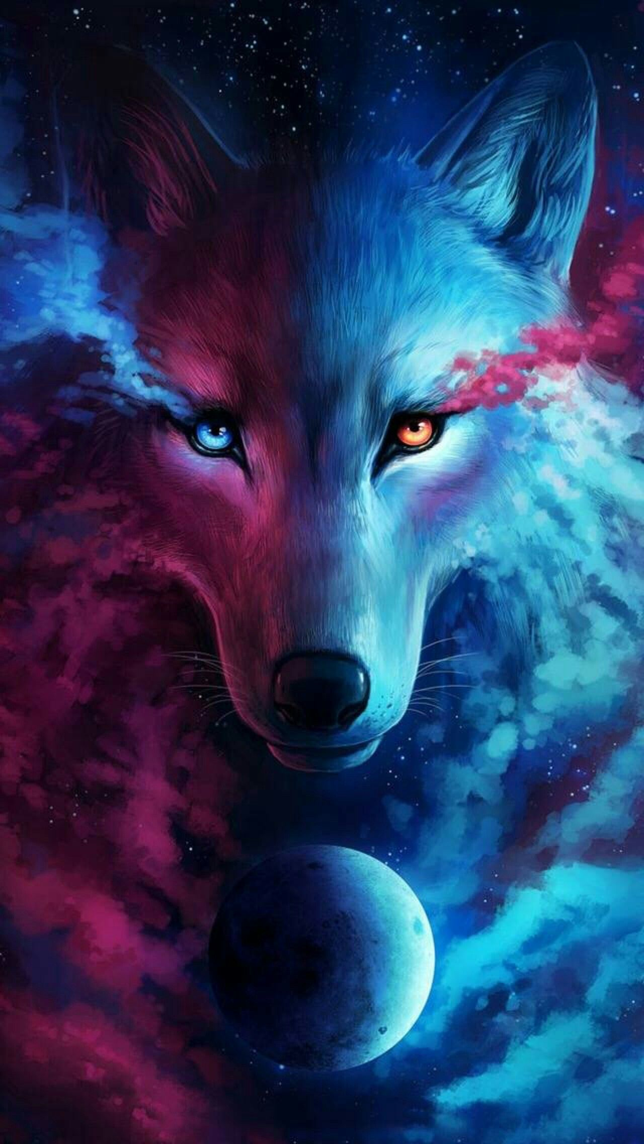 1280x2272 30+ Digital Red Wolf Wallpapers - Download at WallpaperBro