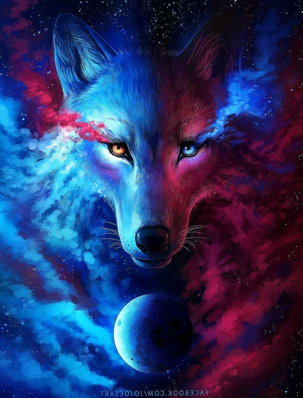 1007x1323 Blue And Red Wolf Wallpapers - Wolf-Wallpapers.Pro