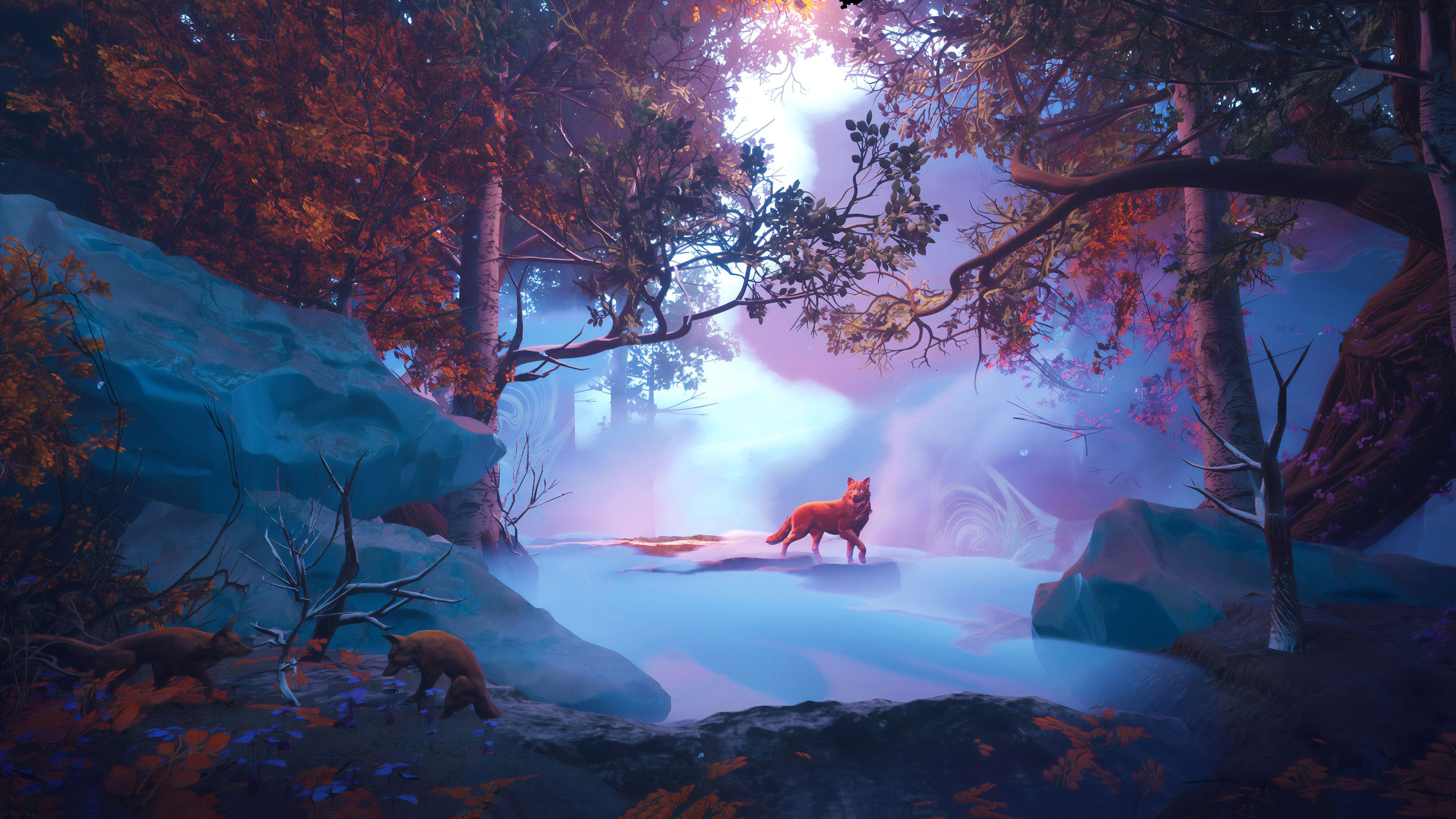 3840x2160 Wolf In Red Magical Woods 4k, HD Artist, 4k Wallpapers ...