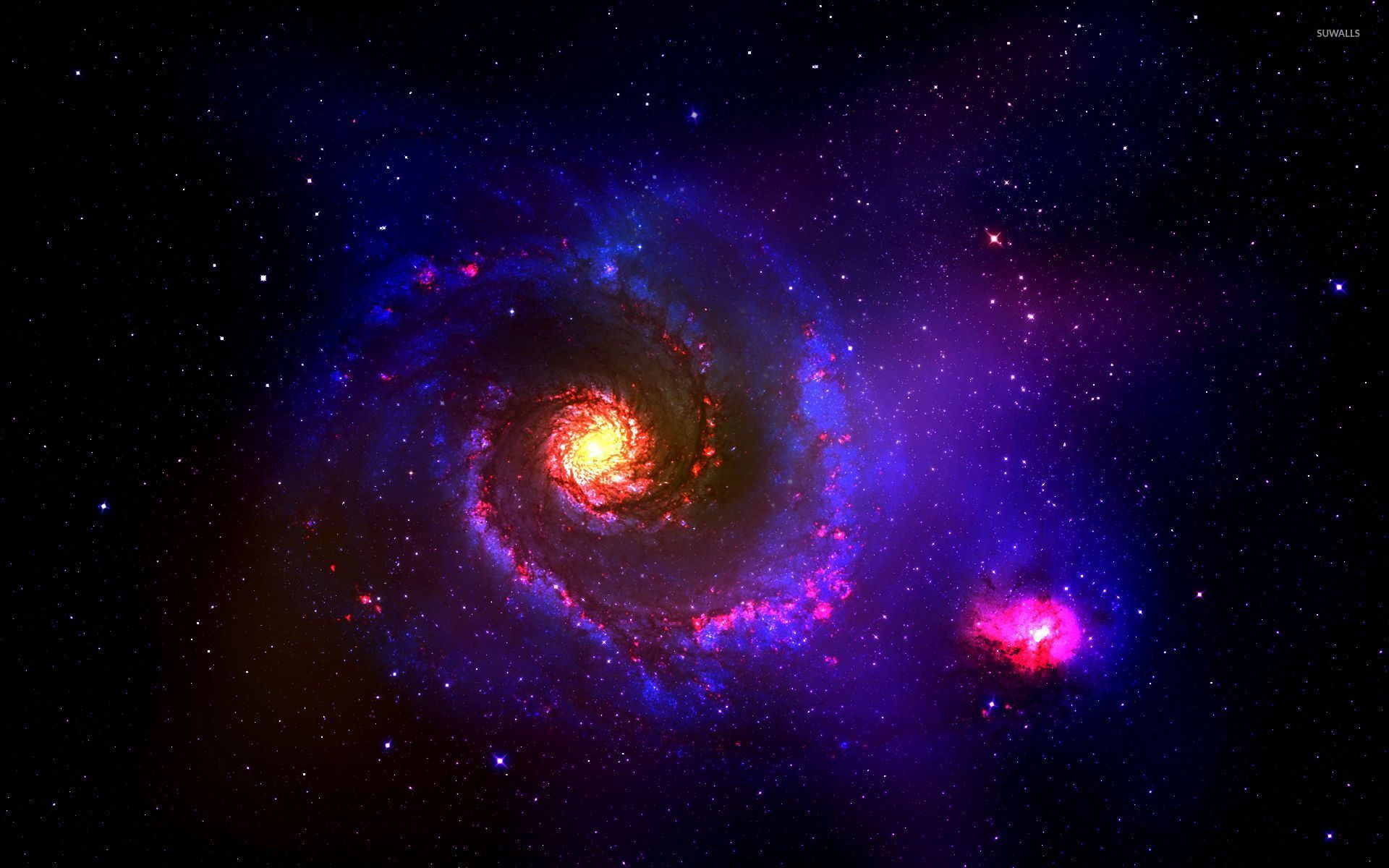 1920x1200 Planet in the red and blue galaxy wallpaper - Space ...