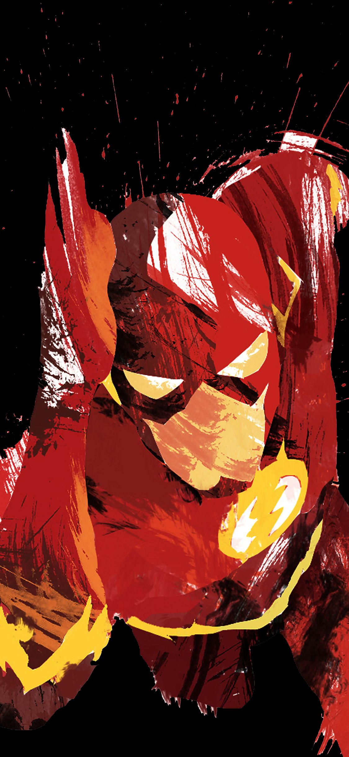 1125x2436 iPhonePapers - ah42-flash-speed-dark-hero-illust-minimal-art