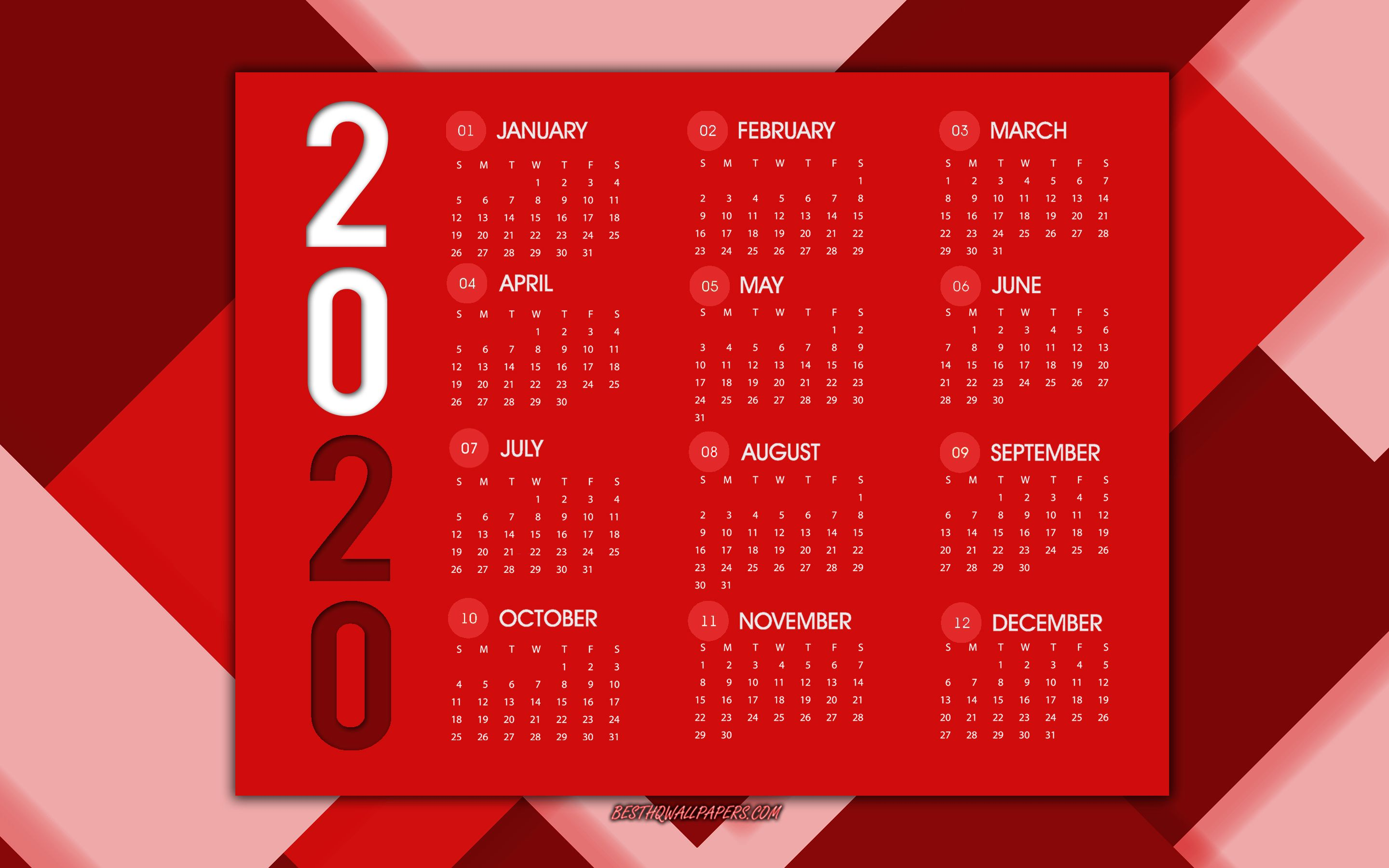 2880x1800 Download wallpapers 2020 calendar, red abstract background ...