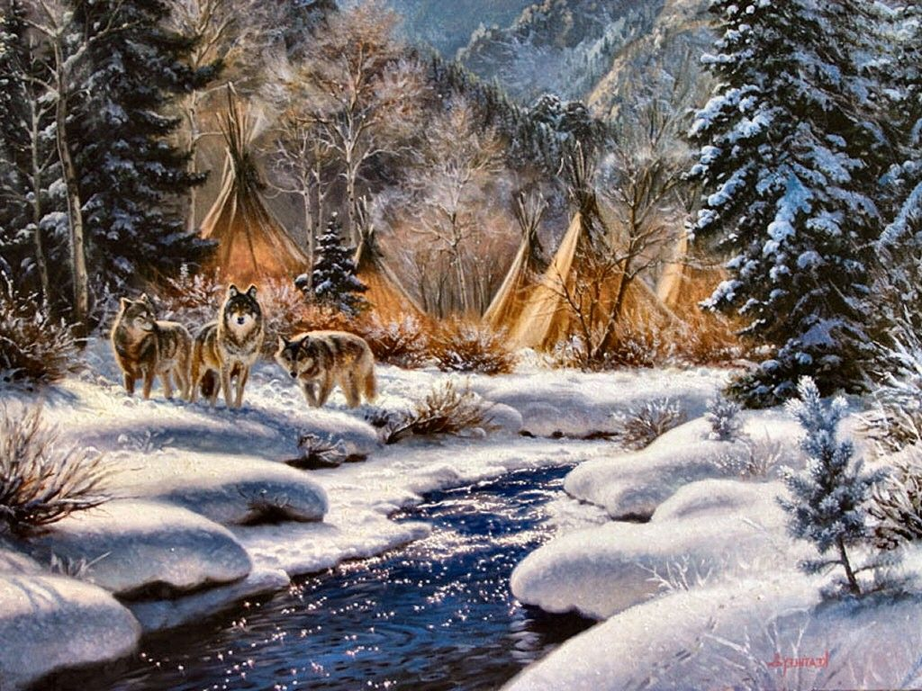 1024x768 Wallpapers Tagged With Teepees: River Canine Landscape Village ...