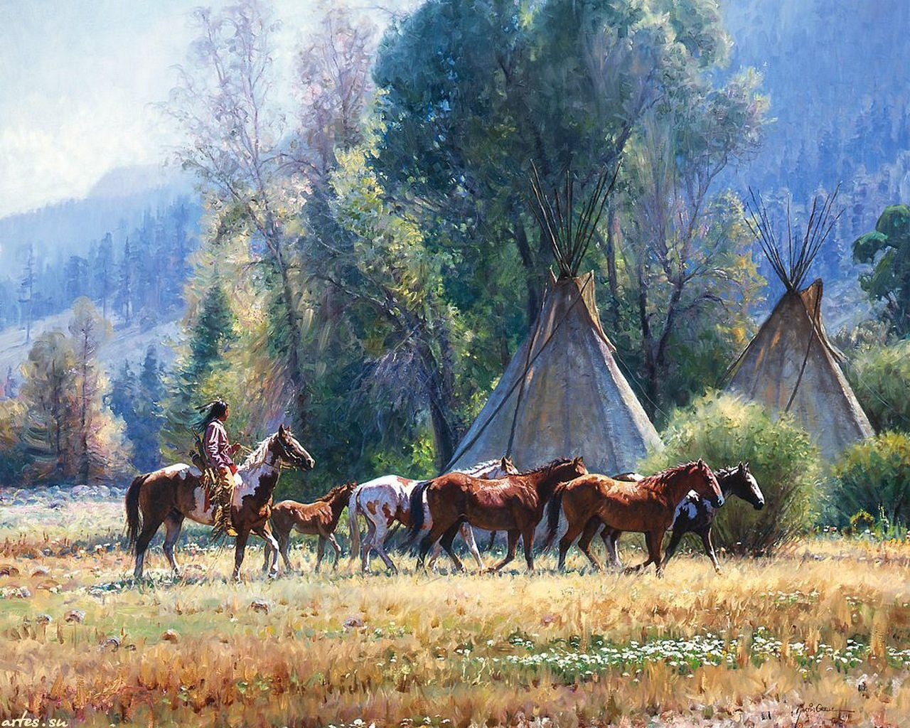 1280x1024 This brilliant piece of artwork, Empty Lodge, by Martin Grelle is a ...