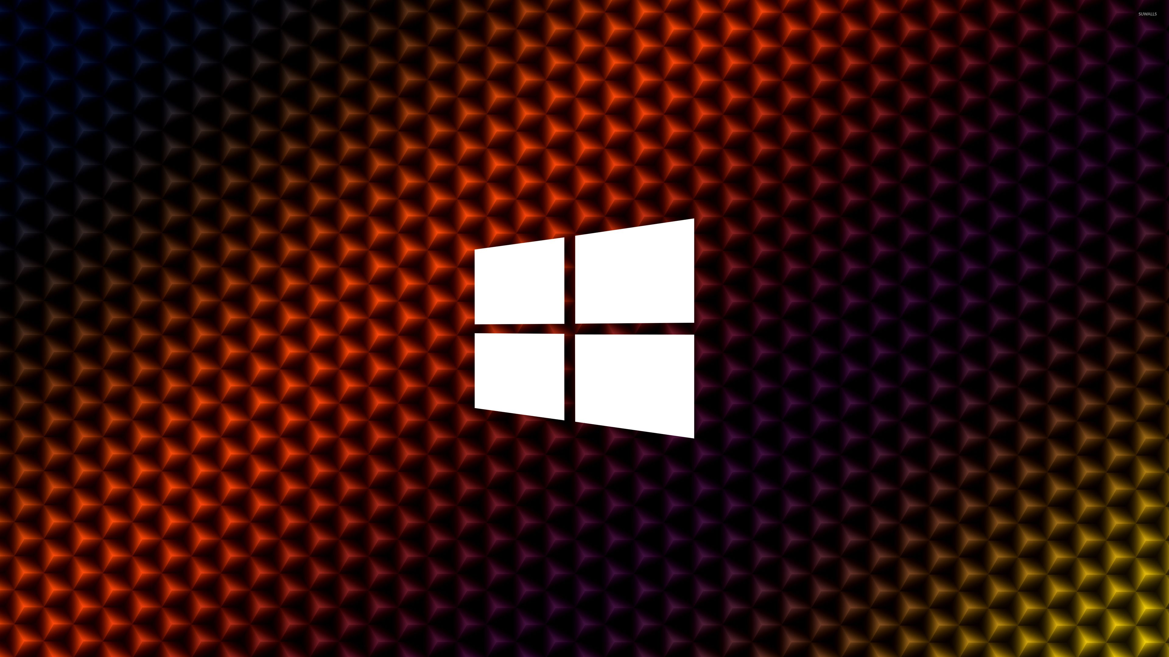 3840x2160 Windows 10 simple white logo on colorful cubes wallpaper ...