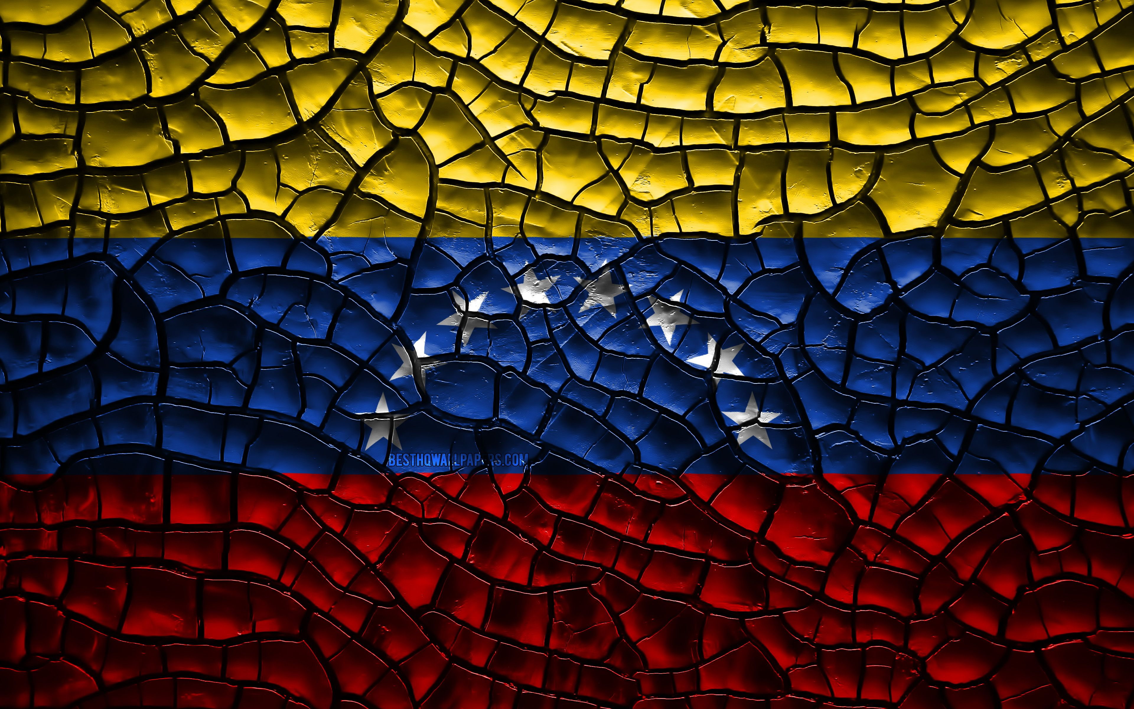 3840x2400 Download wallpapers Flag of Venezuela, 4k, cracked soil ...