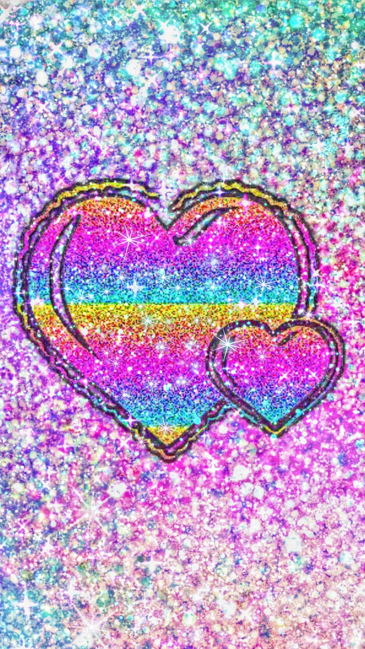 1200x2133 Rainbow Glittery Hearts, made by me #patterns #colorful ...