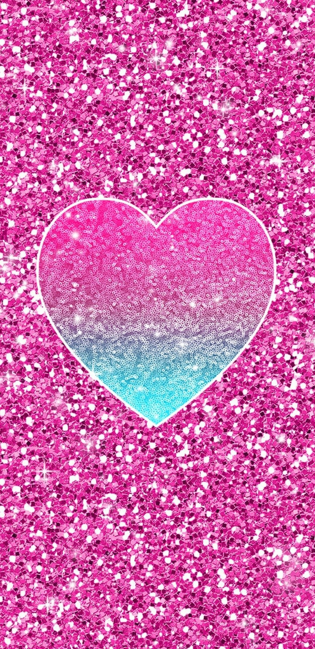 1080x2220 Turquoise & Pink Heart | Amy in 2019 | Glitter phone ...