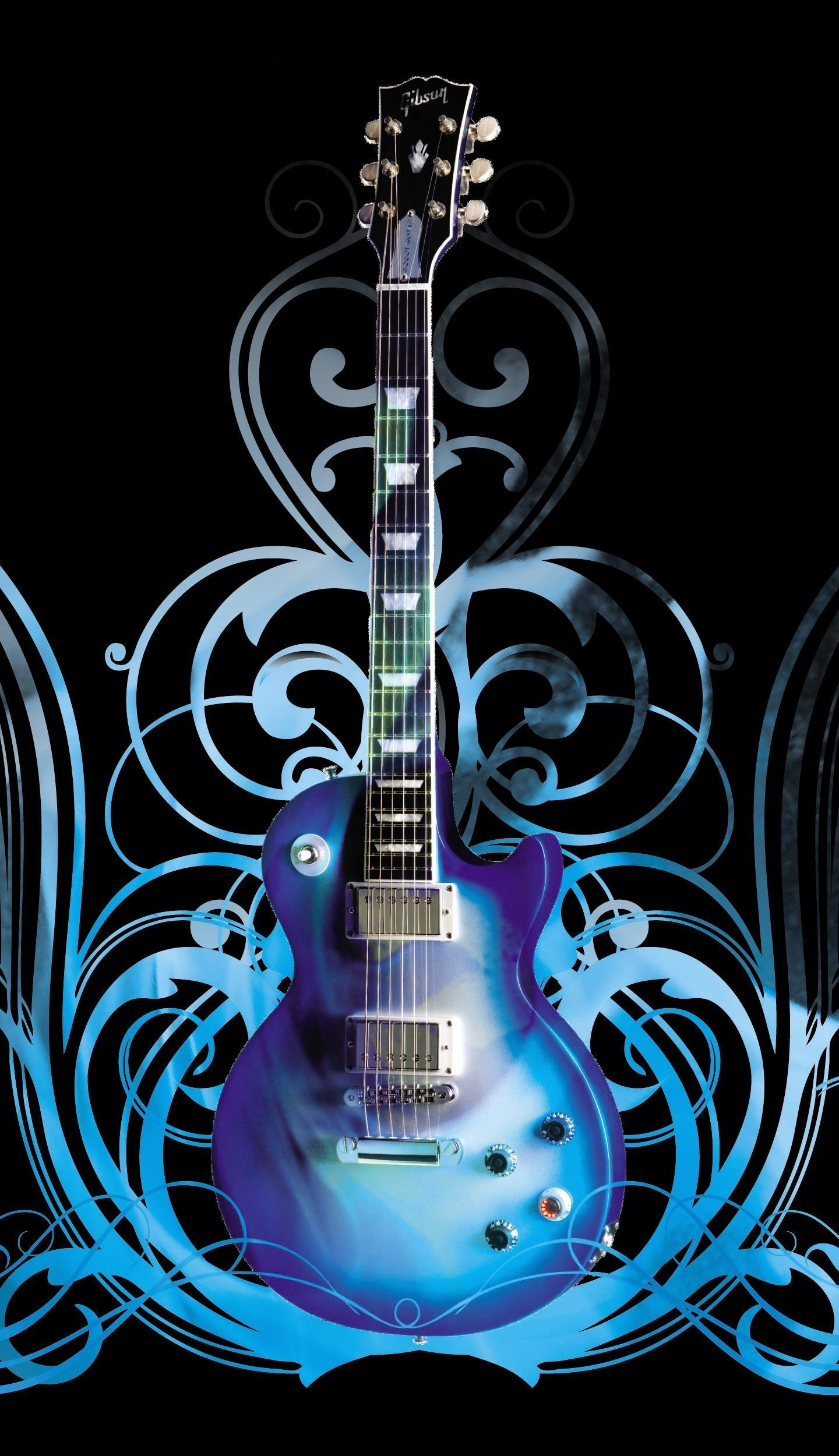 1440x2500 Guitar Art Blue Music 4K Wallpaper - Best Wallpapers