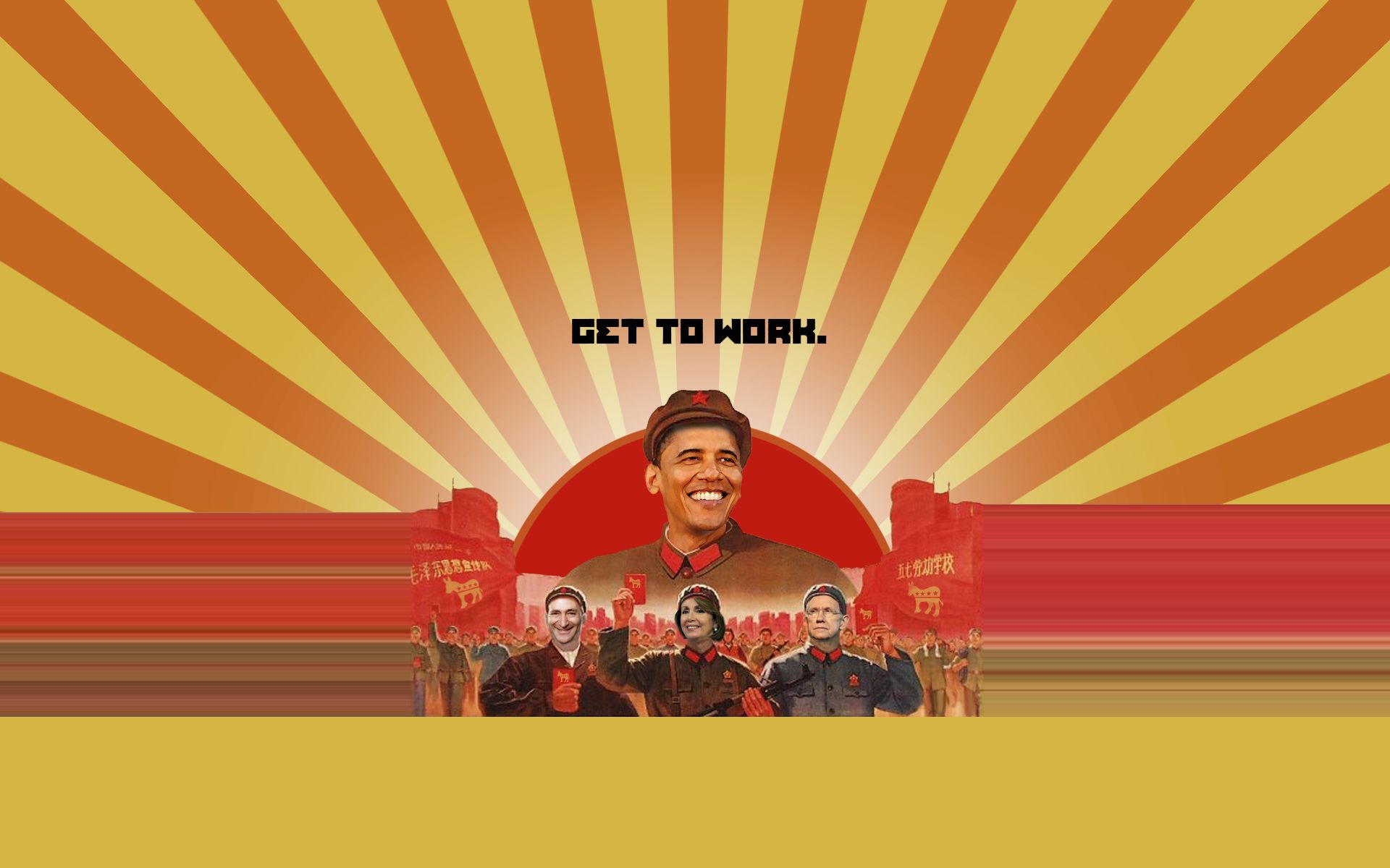 1920x1200 Obama in Chinese Themed Propaganda Poster, GET TO WORK | LOGOS & BRANDS