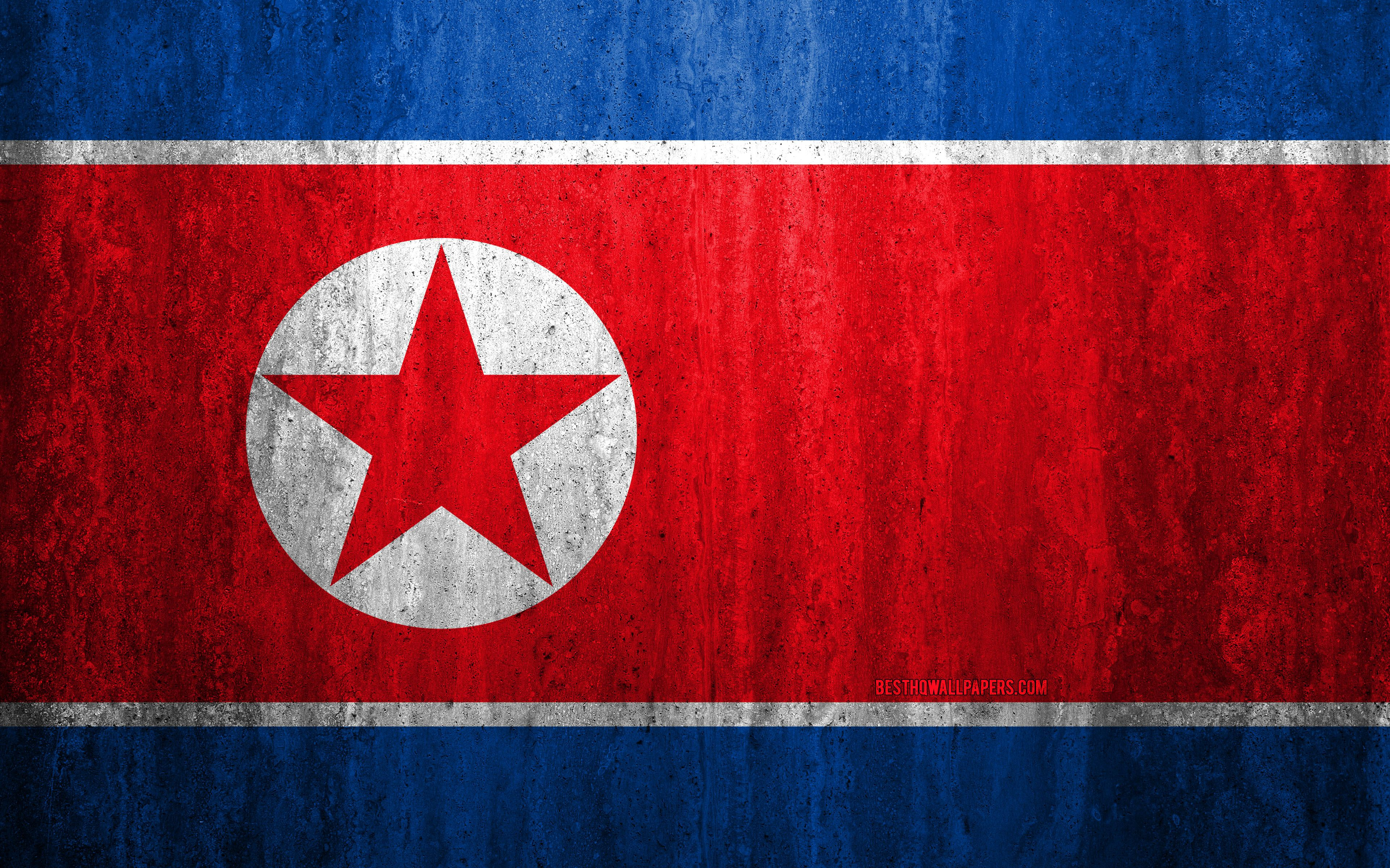 3840x2400 Download wallpapers Flag of North Korea, 4k, stone ...