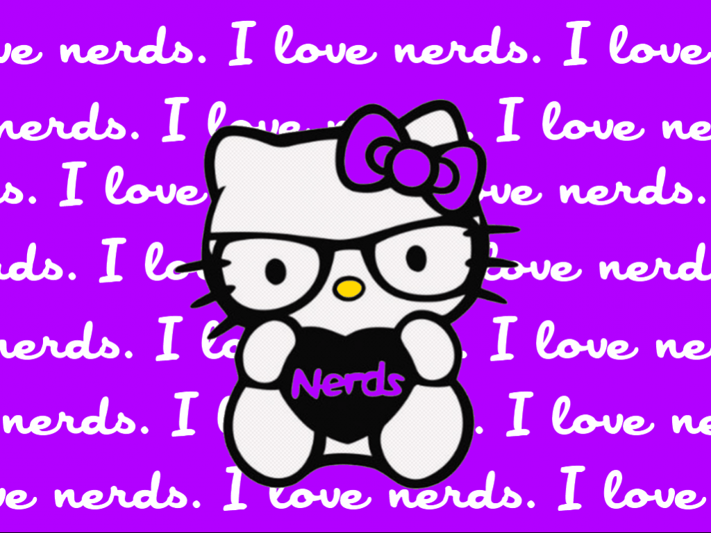 1024x768 Hello Kitty Nerd Wallpaper with Purple Background and I Love Nerds ...