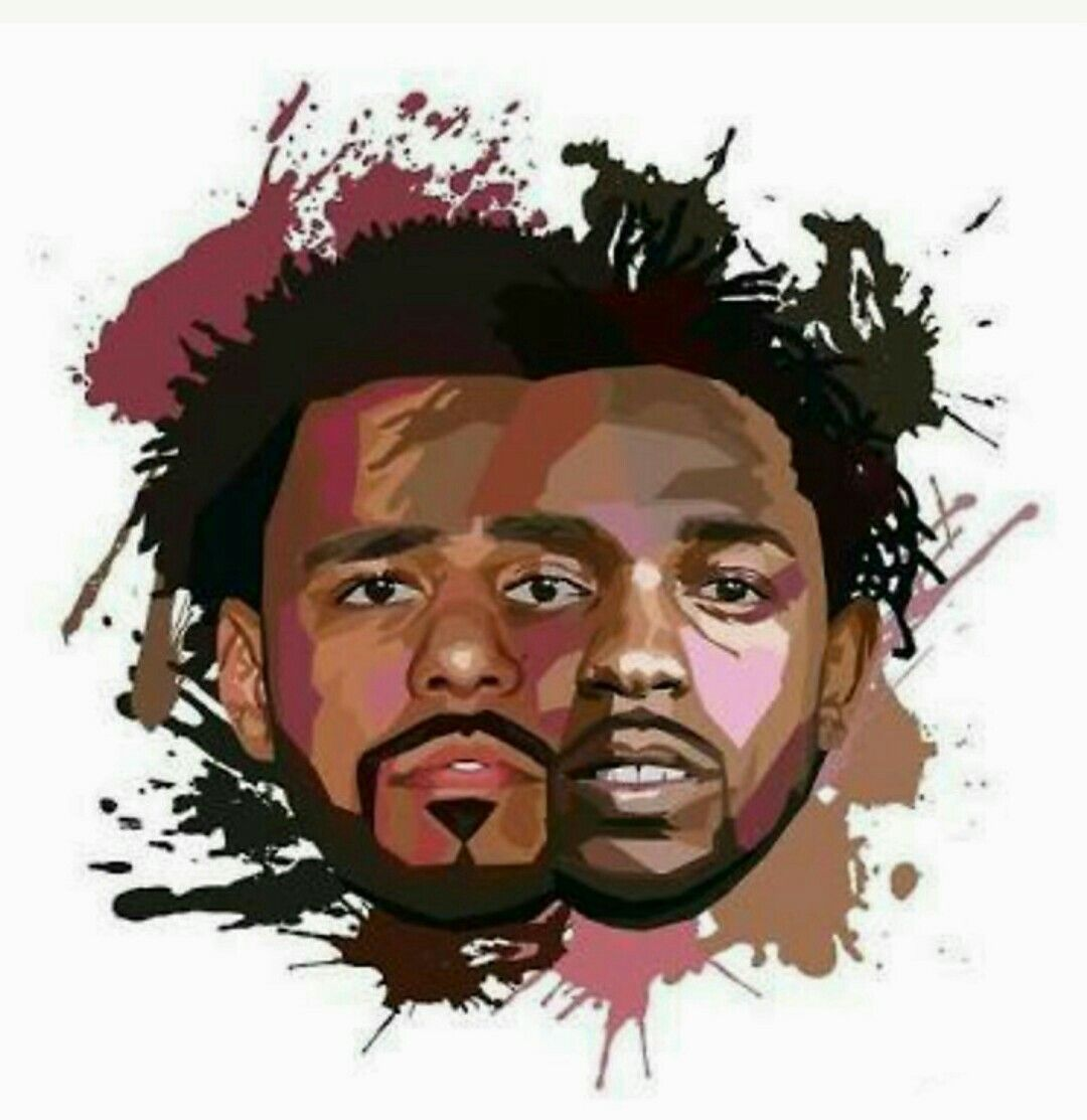 1080x1113 J Cole & Kendrick Lamar - Nice drawing of two great, visionary ...