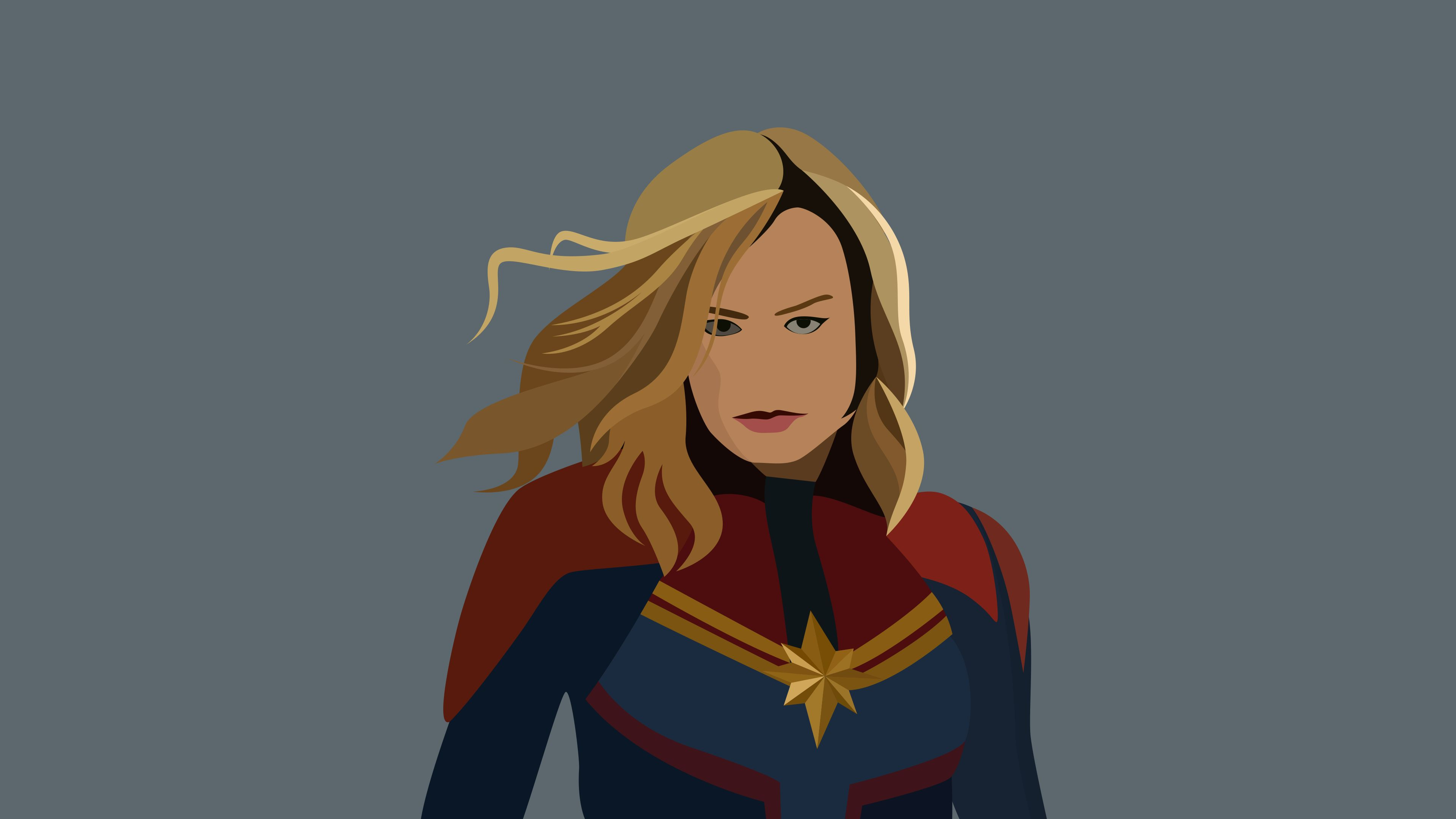 3840x2160 4K Captain Marvel Artwork Minimal Wallpaper, HD Minimalist ...