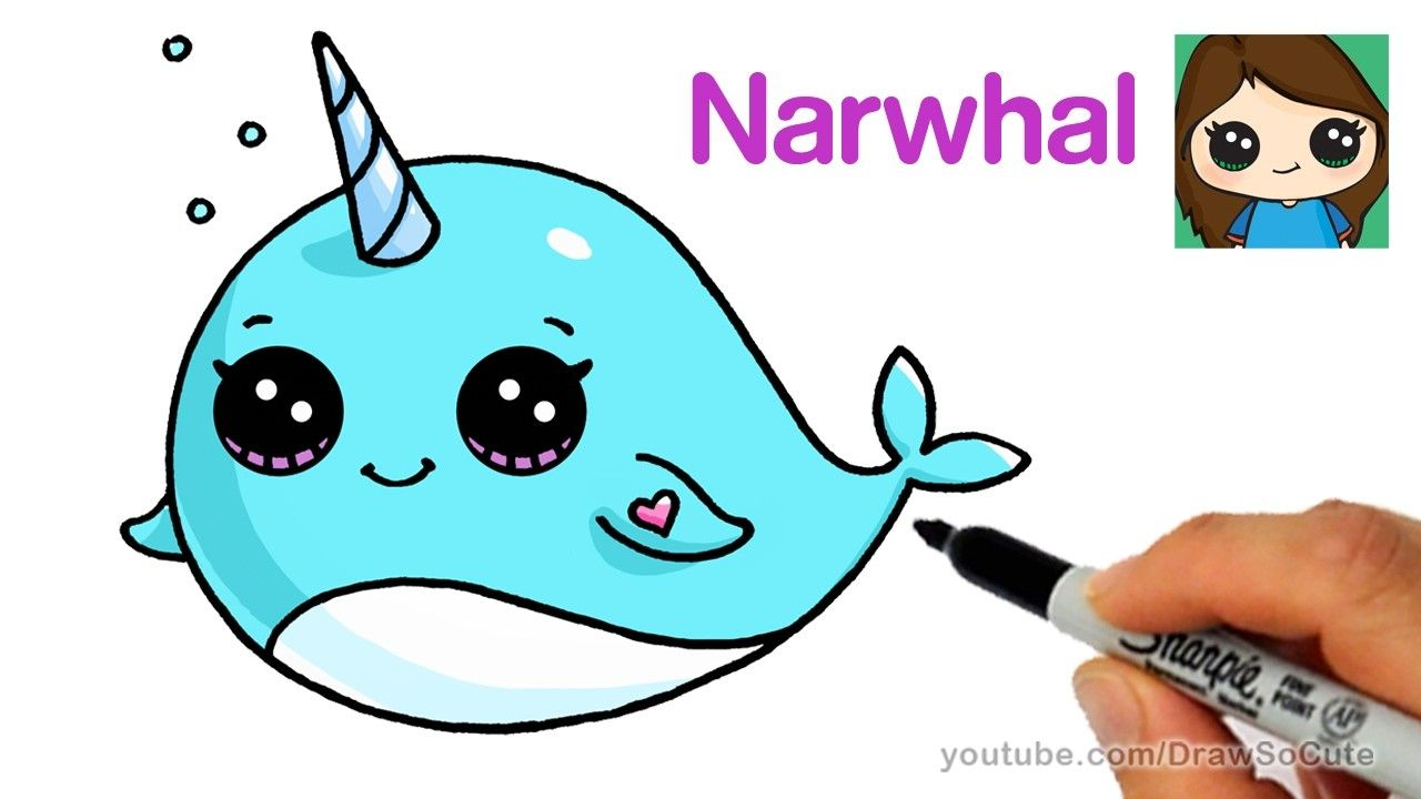 1280x720 How to Draw a Cartoon Narwhal Unicorn Whale Easy