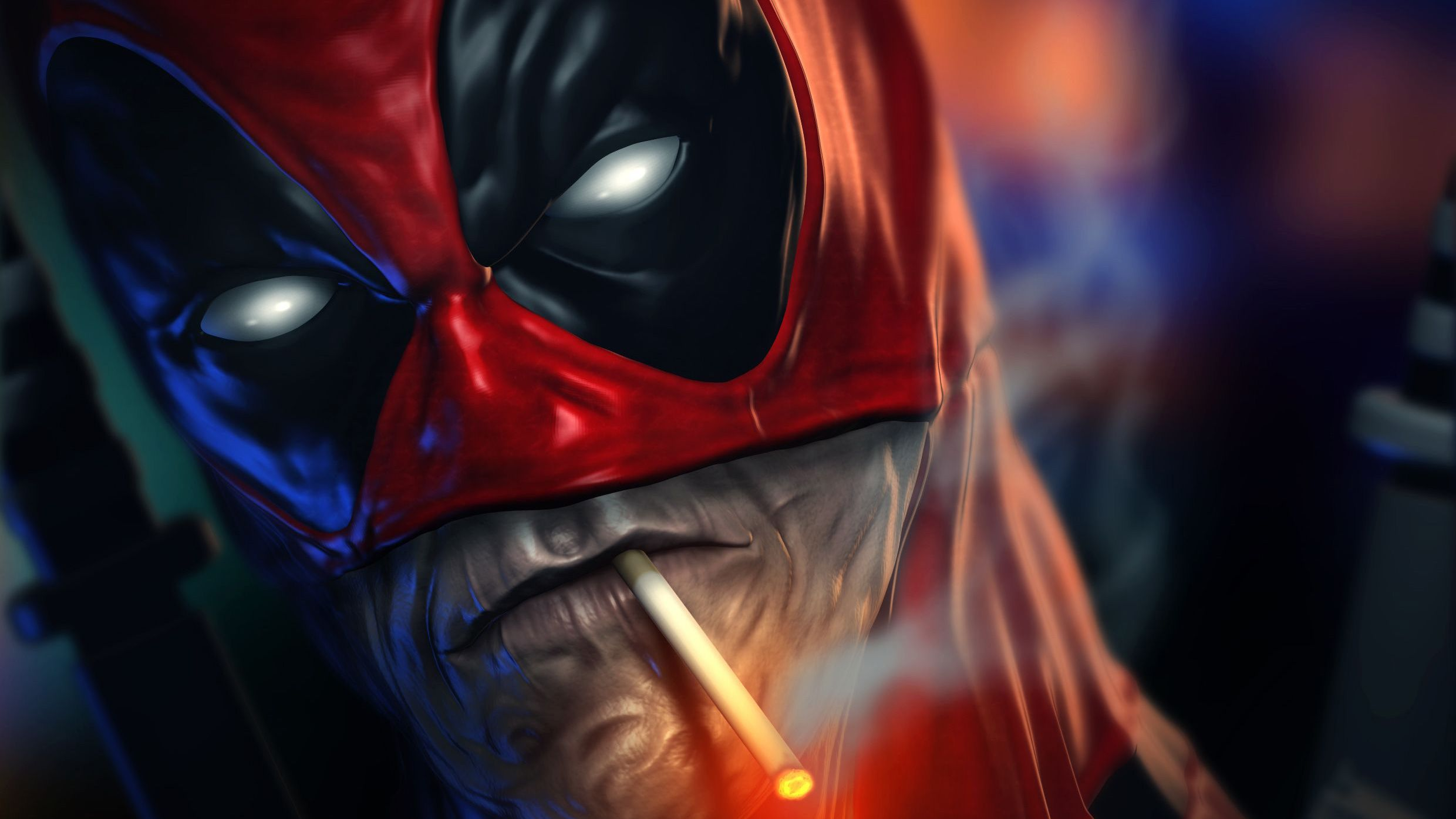 2480x1395 Deadpool Smoking Cigarette, HD Superheroes, 4k Wallpapers ...