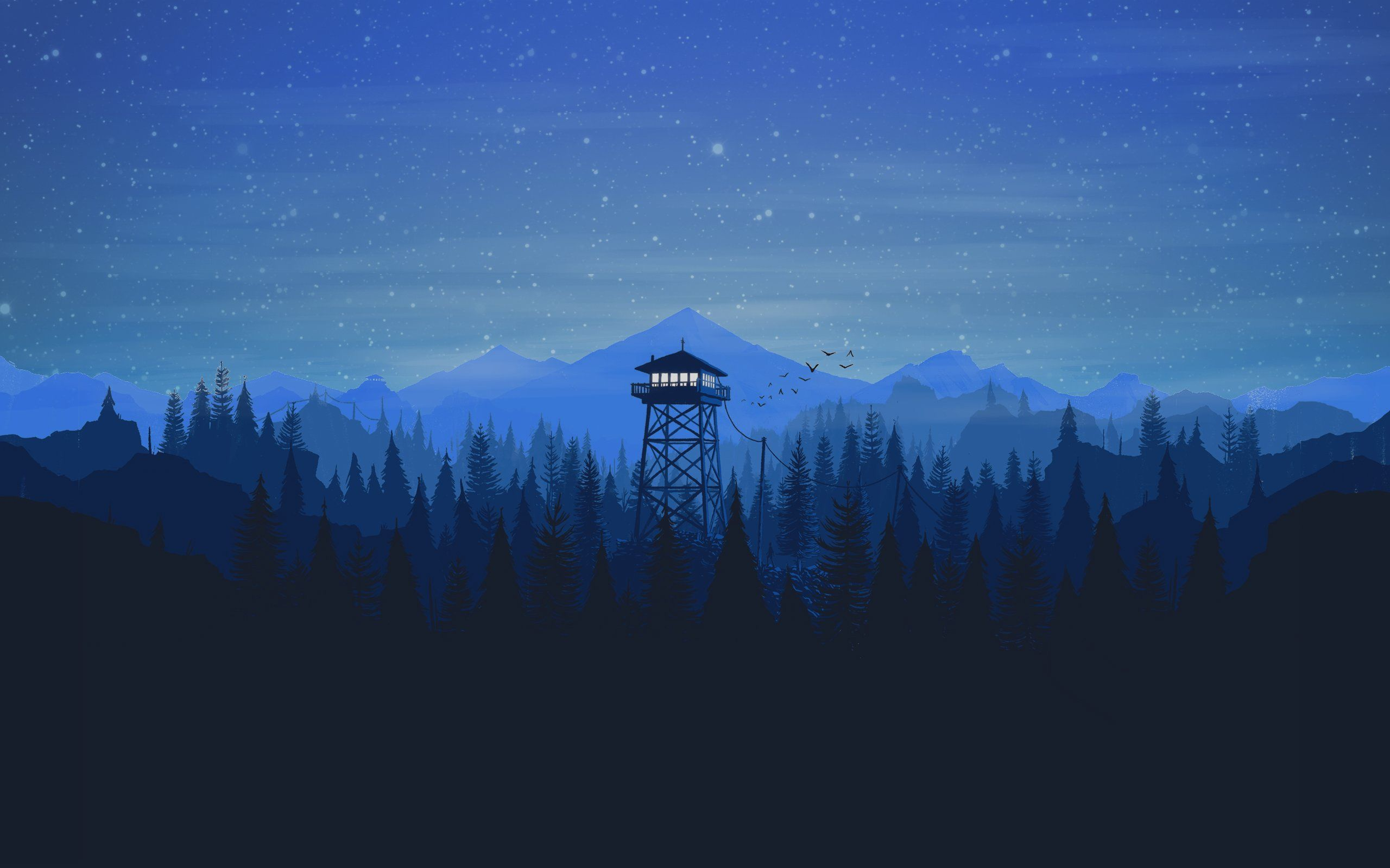 2560x1600 firewatch, Night, Stars, Tower, Forest Wallpapers HD ...