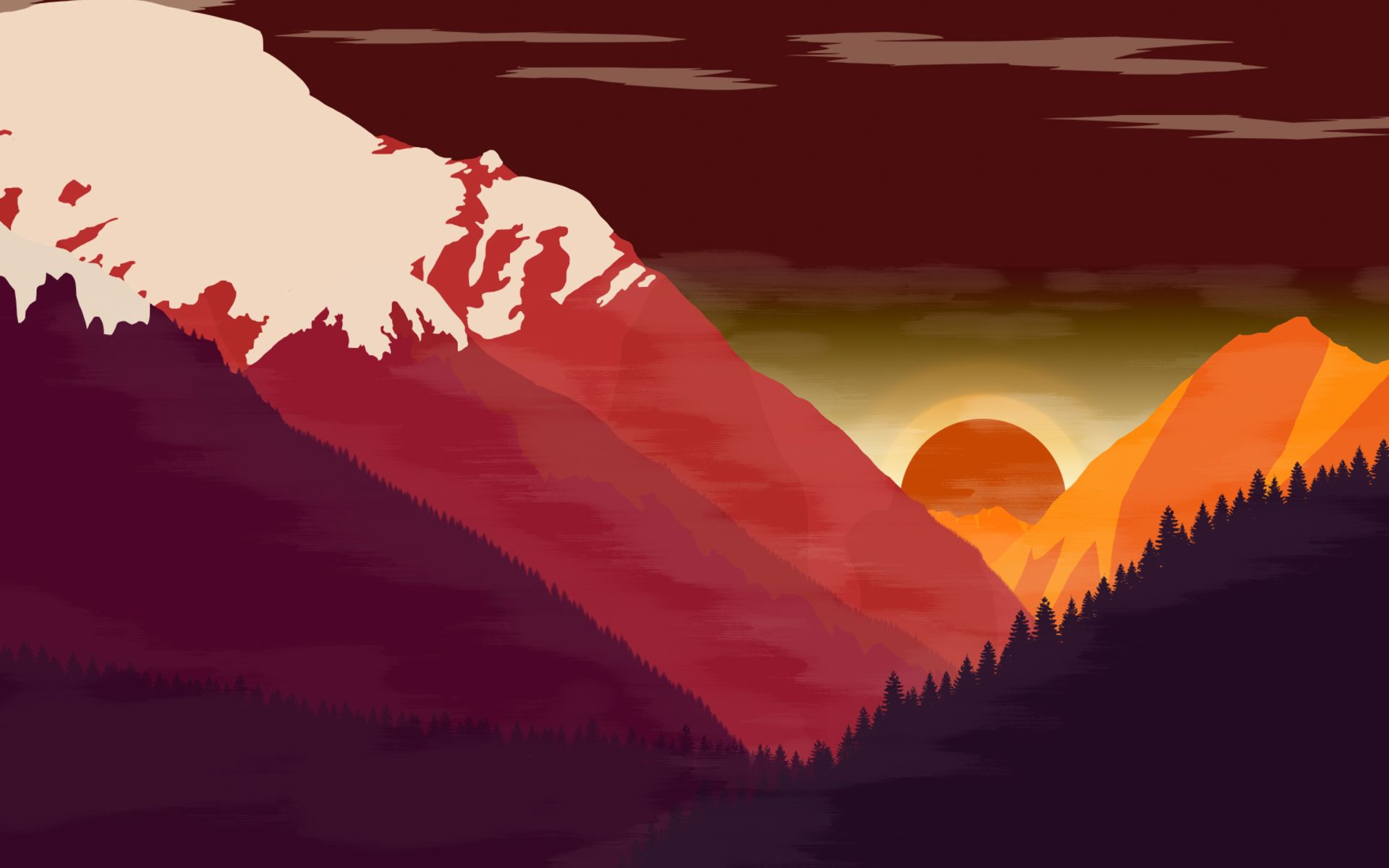 1920x1200 Download wallpapers mountains, sunset, creative, forest ...