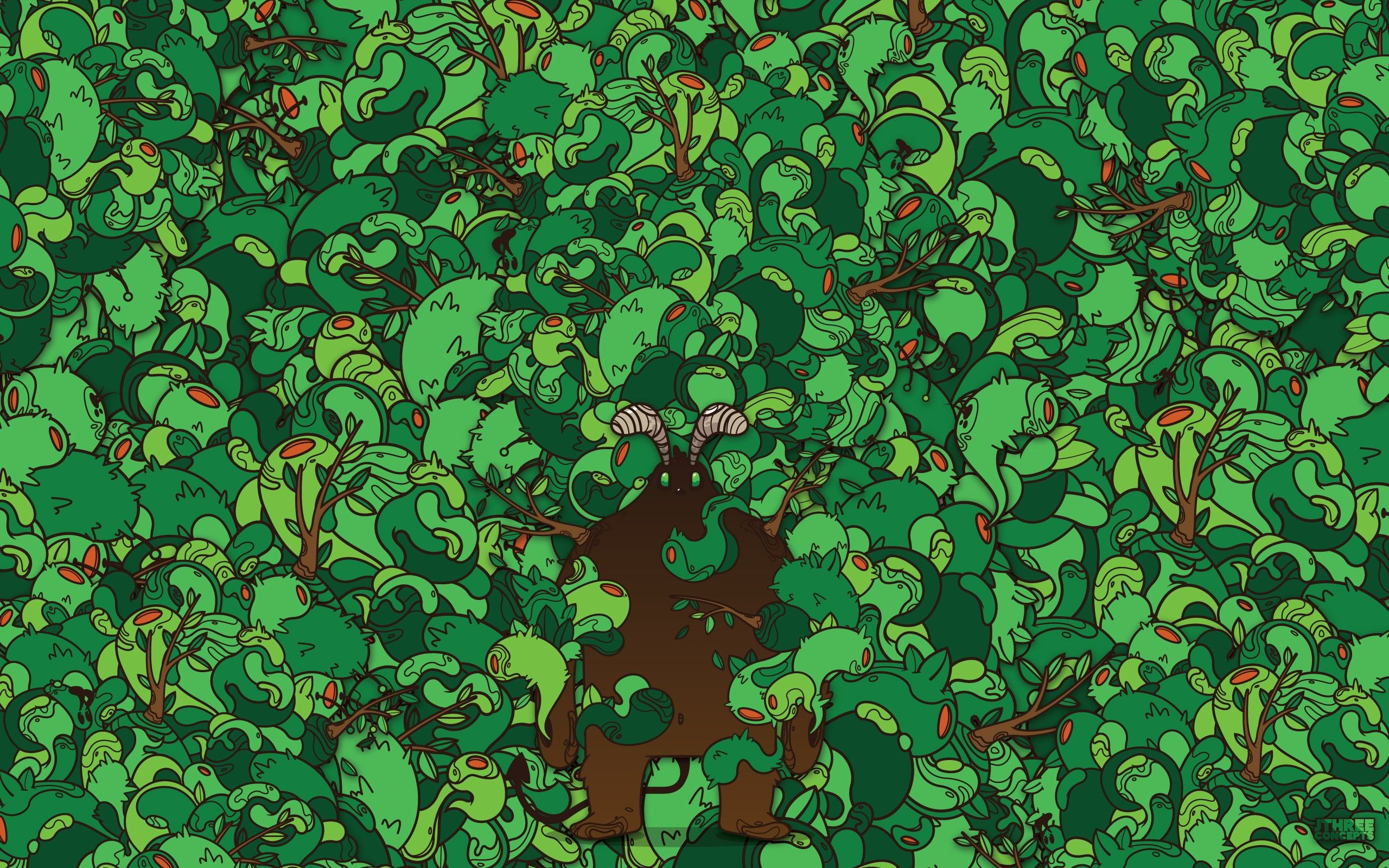 2560x1600 green, Abstract, Forest, Vector, Hipster, Artwork, Jthree ...