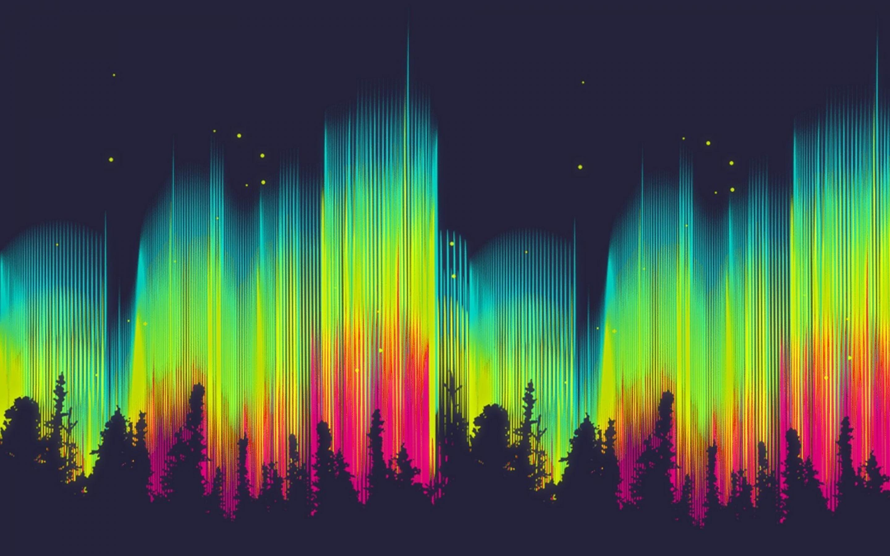 2880x1800 Free download Abstract bright color aurora borealis forest ...