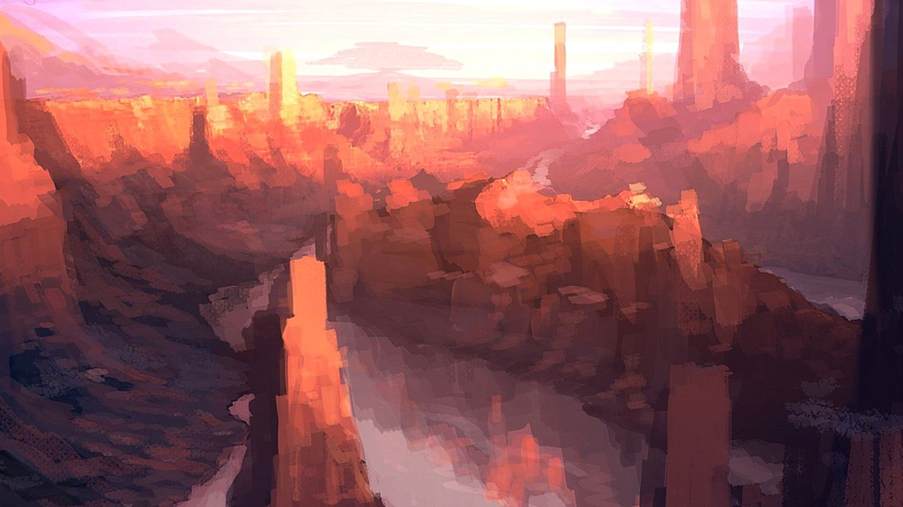 1805x1015 Paintings, Canyon, Real, Scenic, Digital, Art, Concept ...