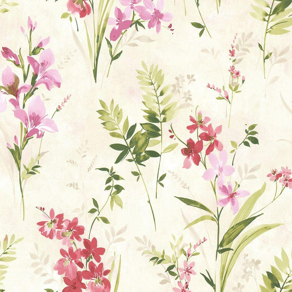 1000x1000 Brewster Driselle Pink Floral Wallpaper-2686-21627 - The Home Depot