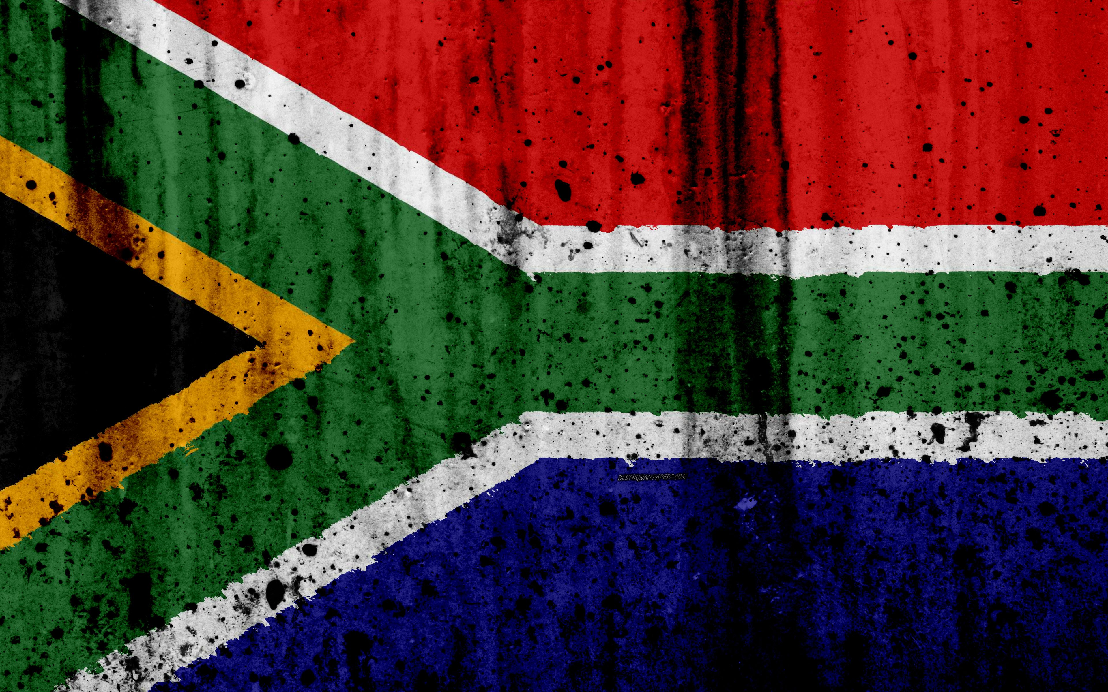 3840x2400 Download wallpapers South African flag, 4k, grunge, flag of ...