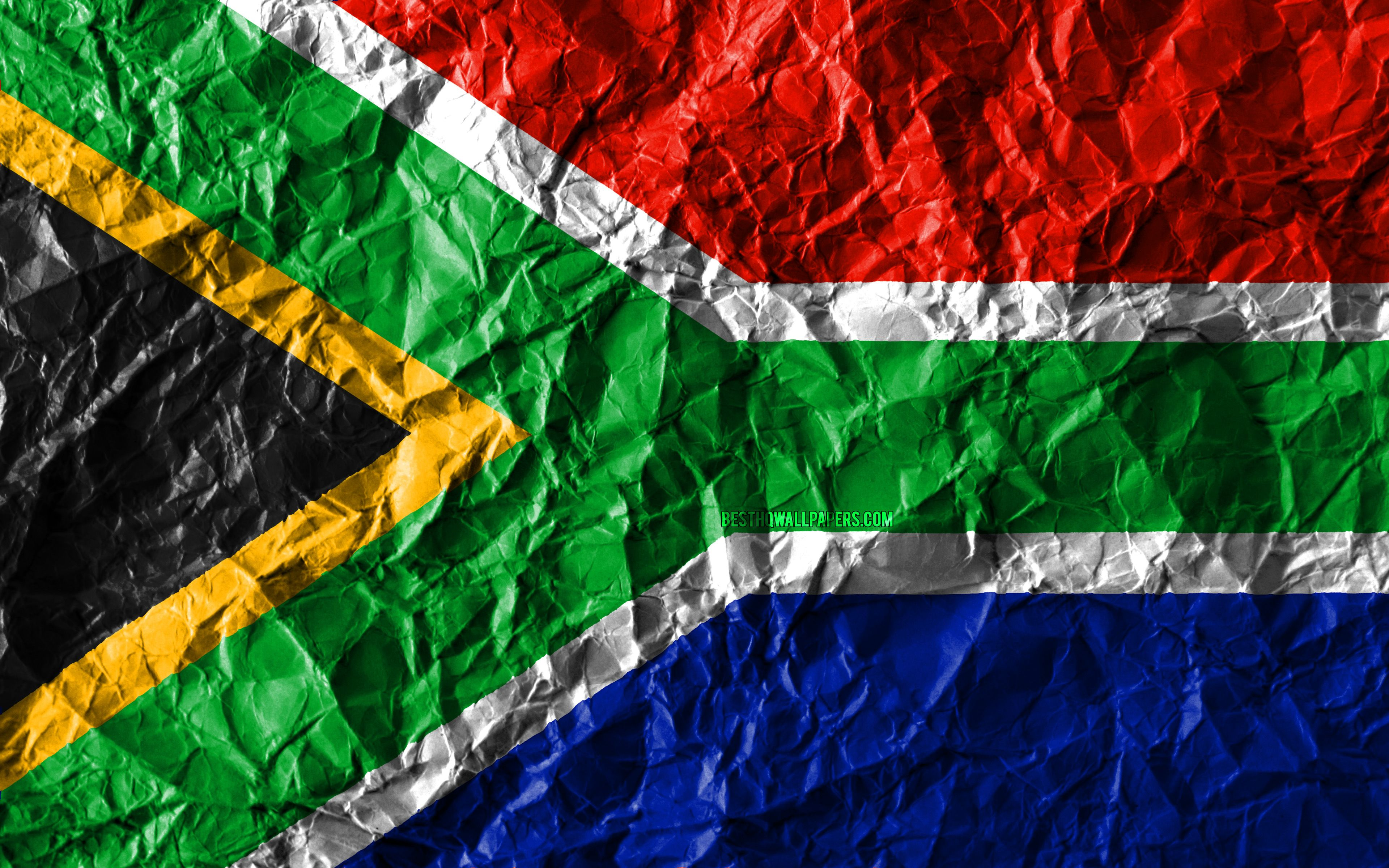 3840x2400 Download wallpapers South African flag, 4k, crumpled paper ...
