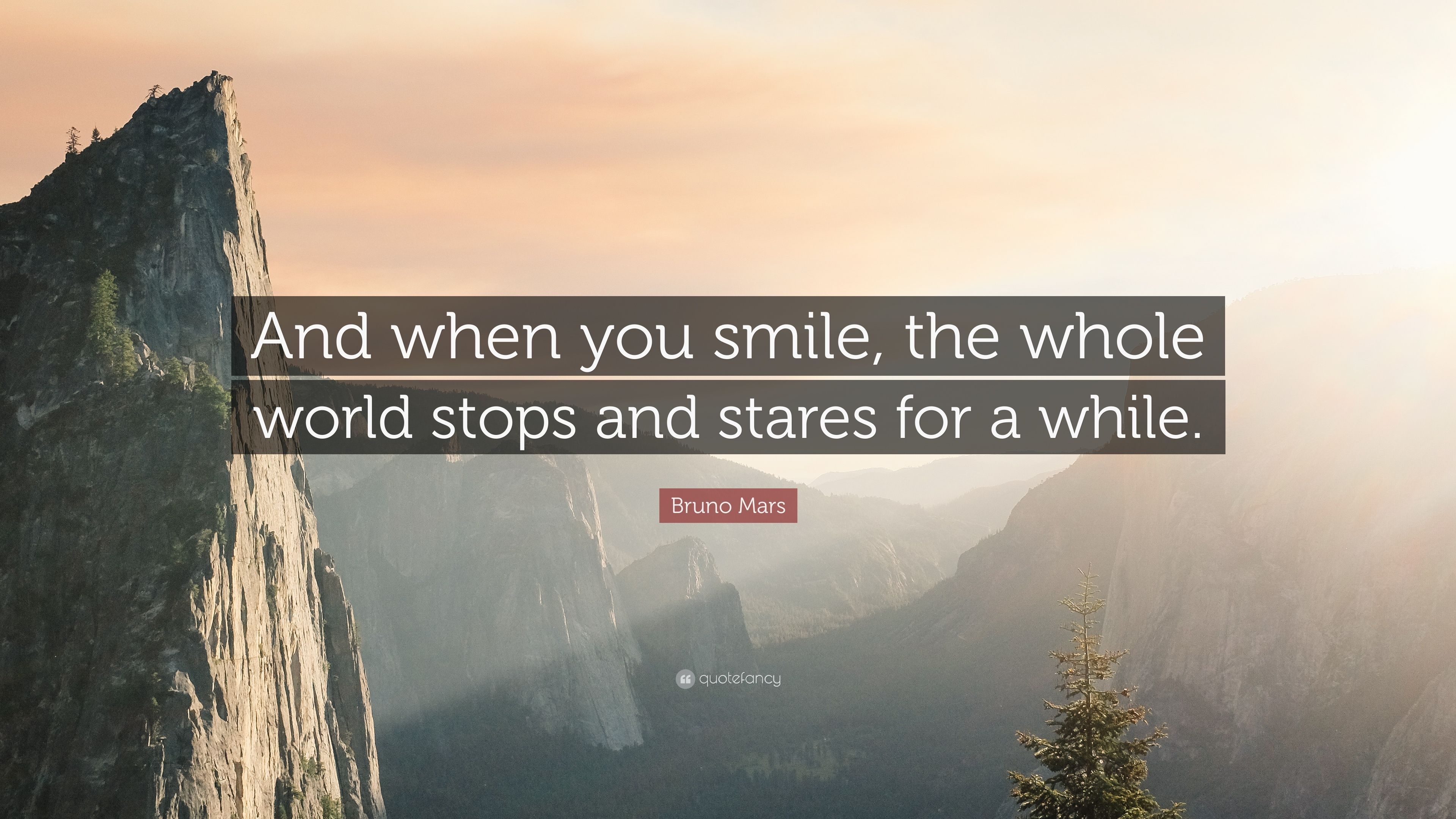 """3840x2160 Bruno Mars Quote: """"And when you smile, the whole world stops ..."""