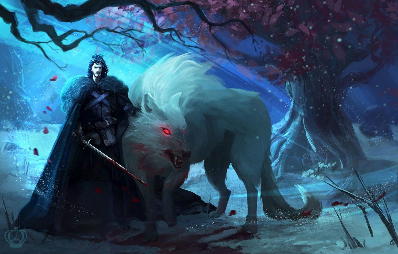 1332x850 Wallpaper tree, wolf, art, male, Ghost, Ghost, Game Of ...