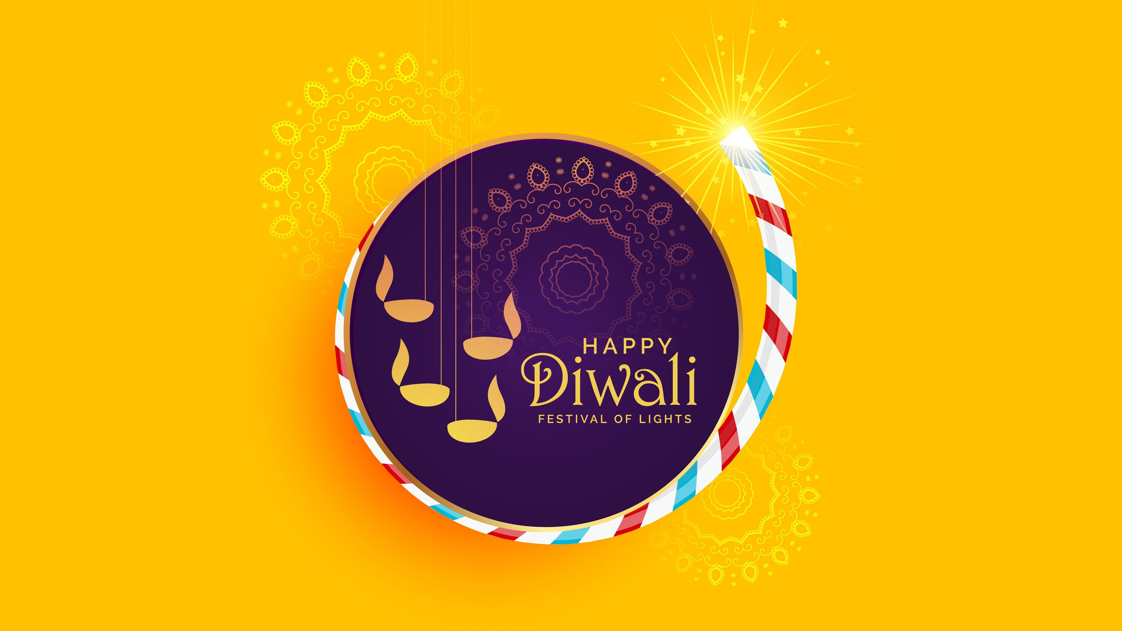 3840x2160 4K Wallpaper of Happy Diwali Festival | HD Wallpapers