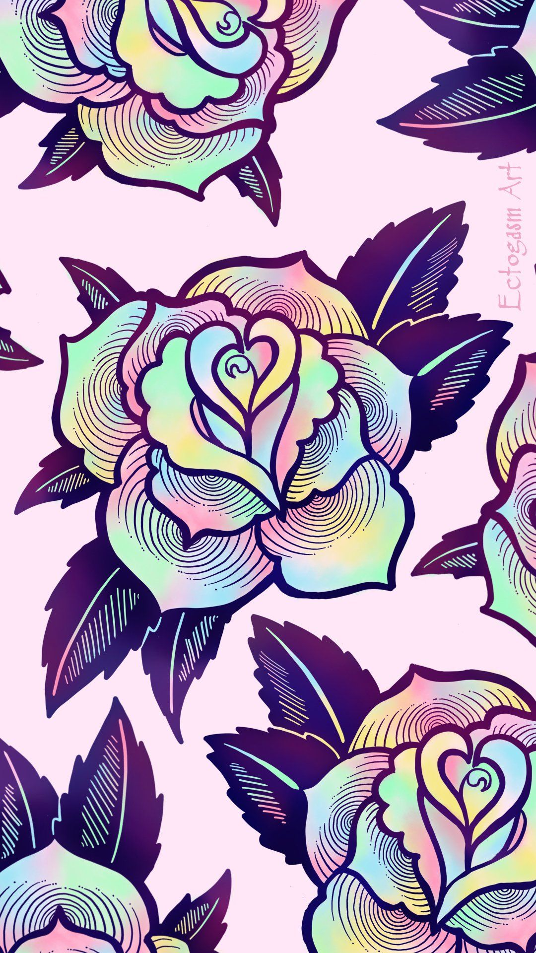 1080x1920 Psychedelic Rose Phone Wallpaper - Free Digital Download ...