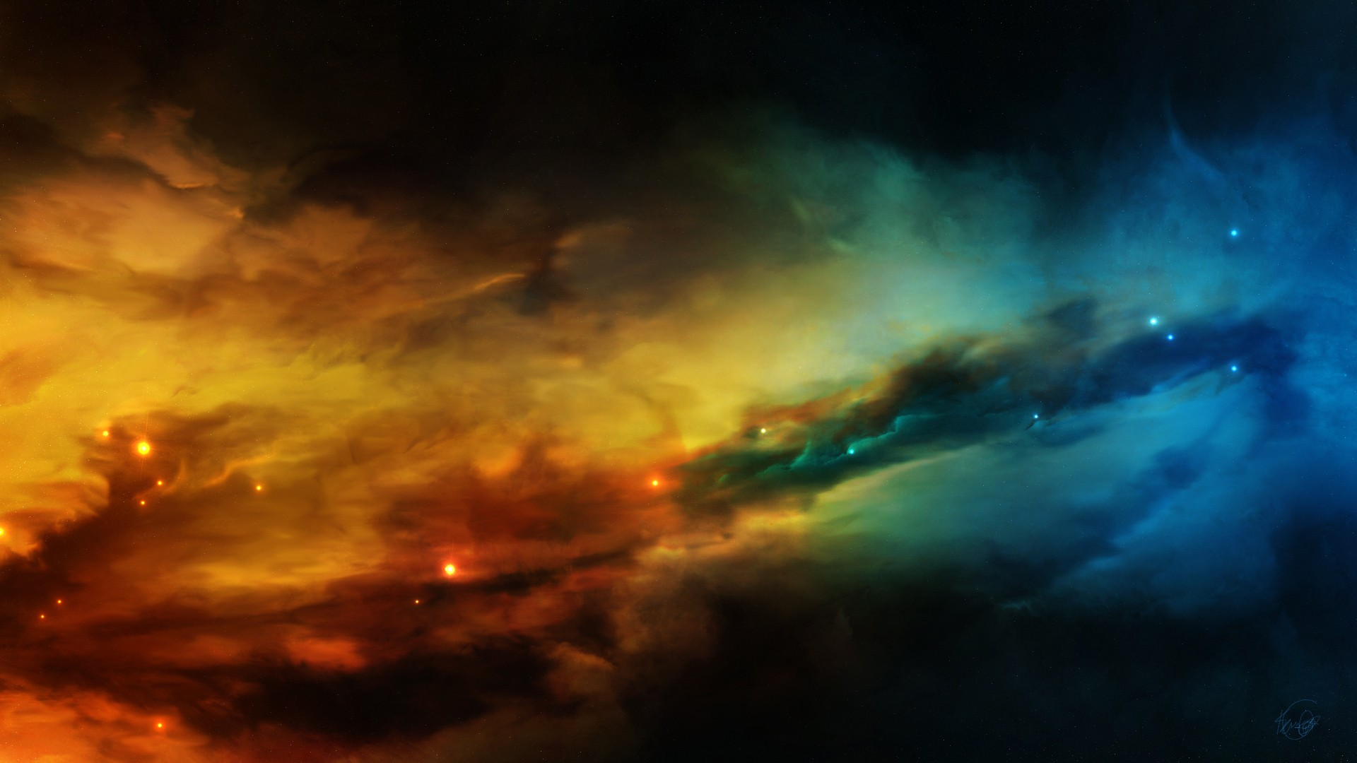 1920x1080 blue, outer space, stars, yellow, nebulae, space art ...