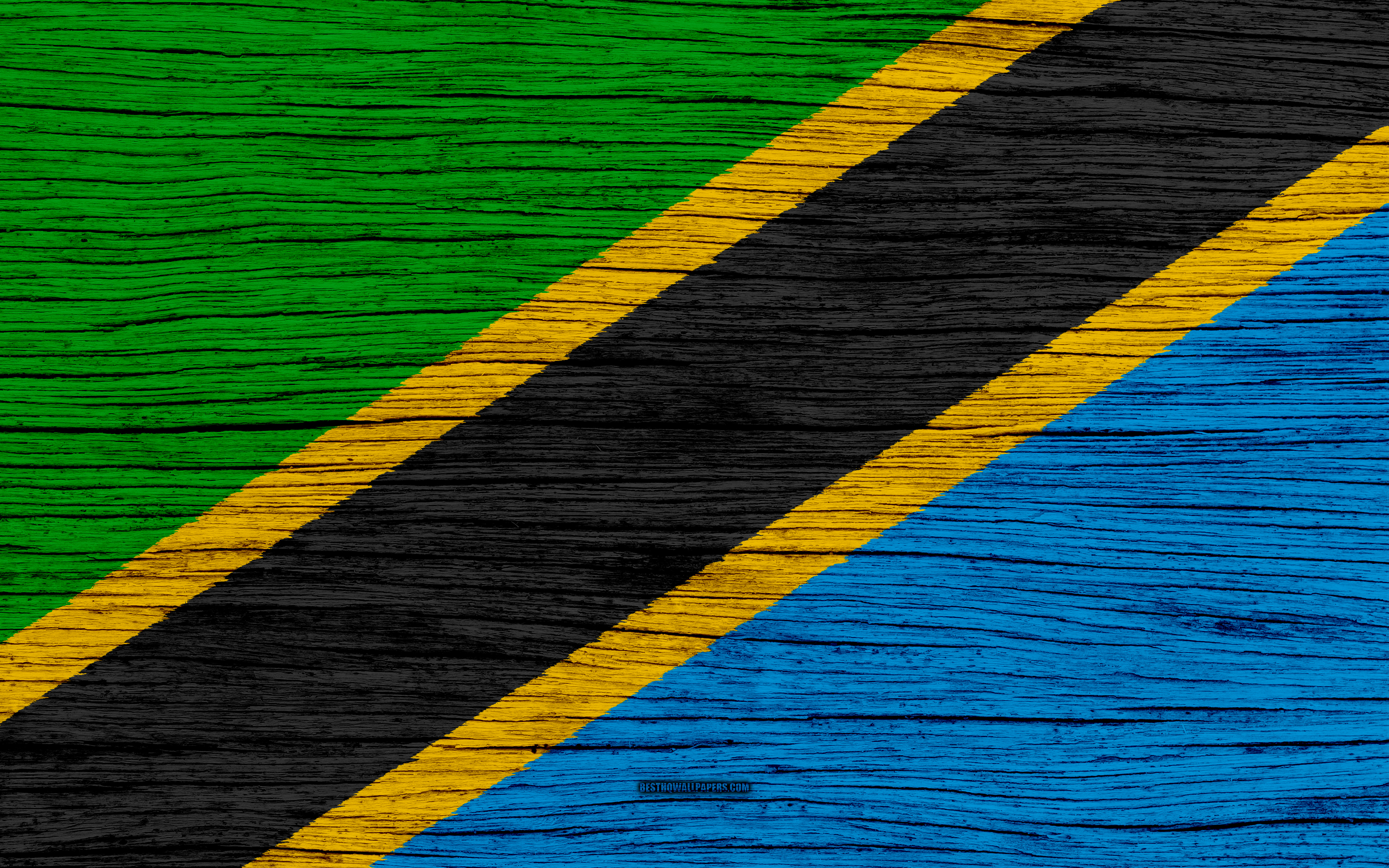 3840x2400 Download wallpapers Flag of Tanzania, 4k, Africa, wooden ...