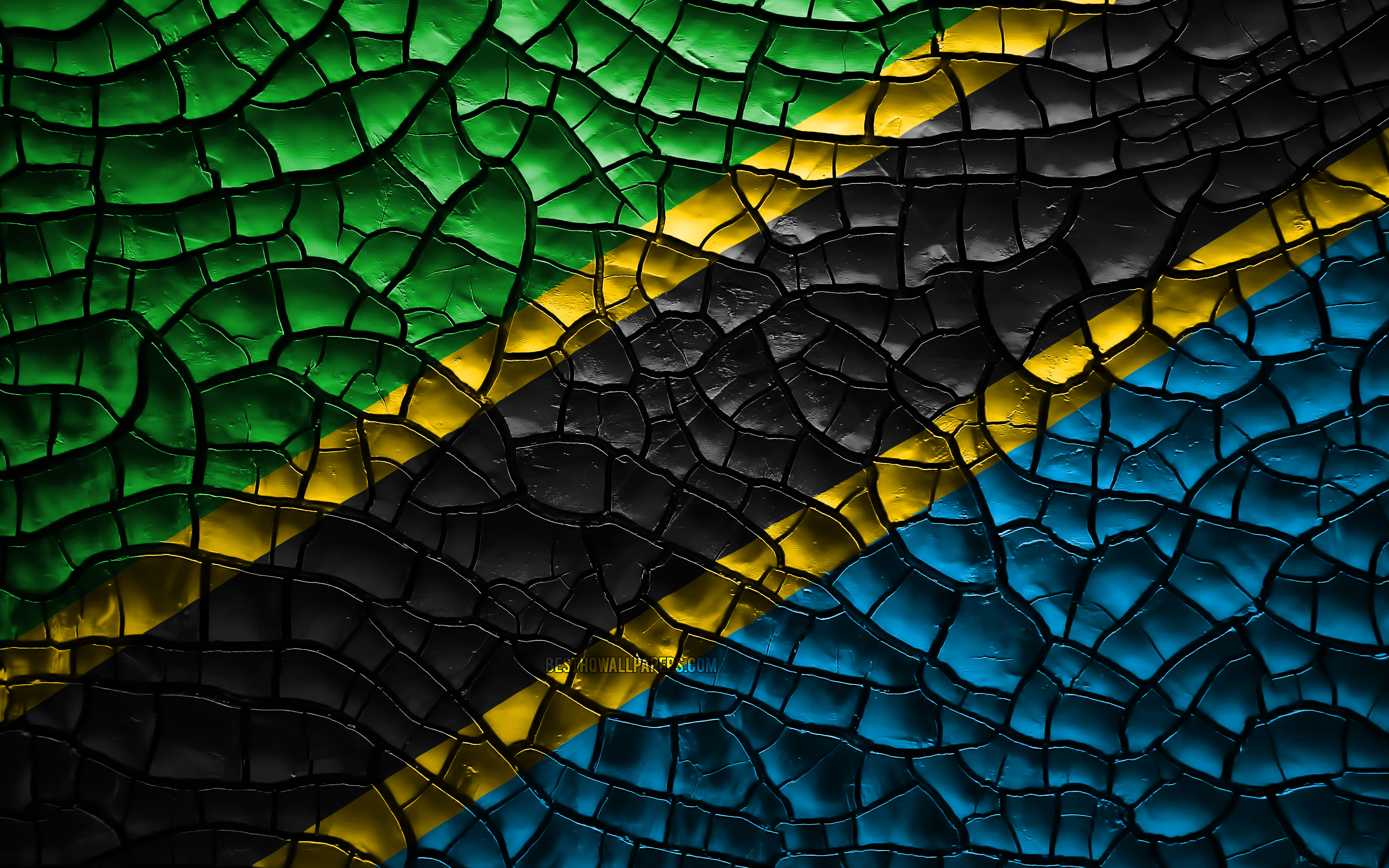 3840x2400 Download wallpapers Flag of Tanzania, 4k, cracked soil ...