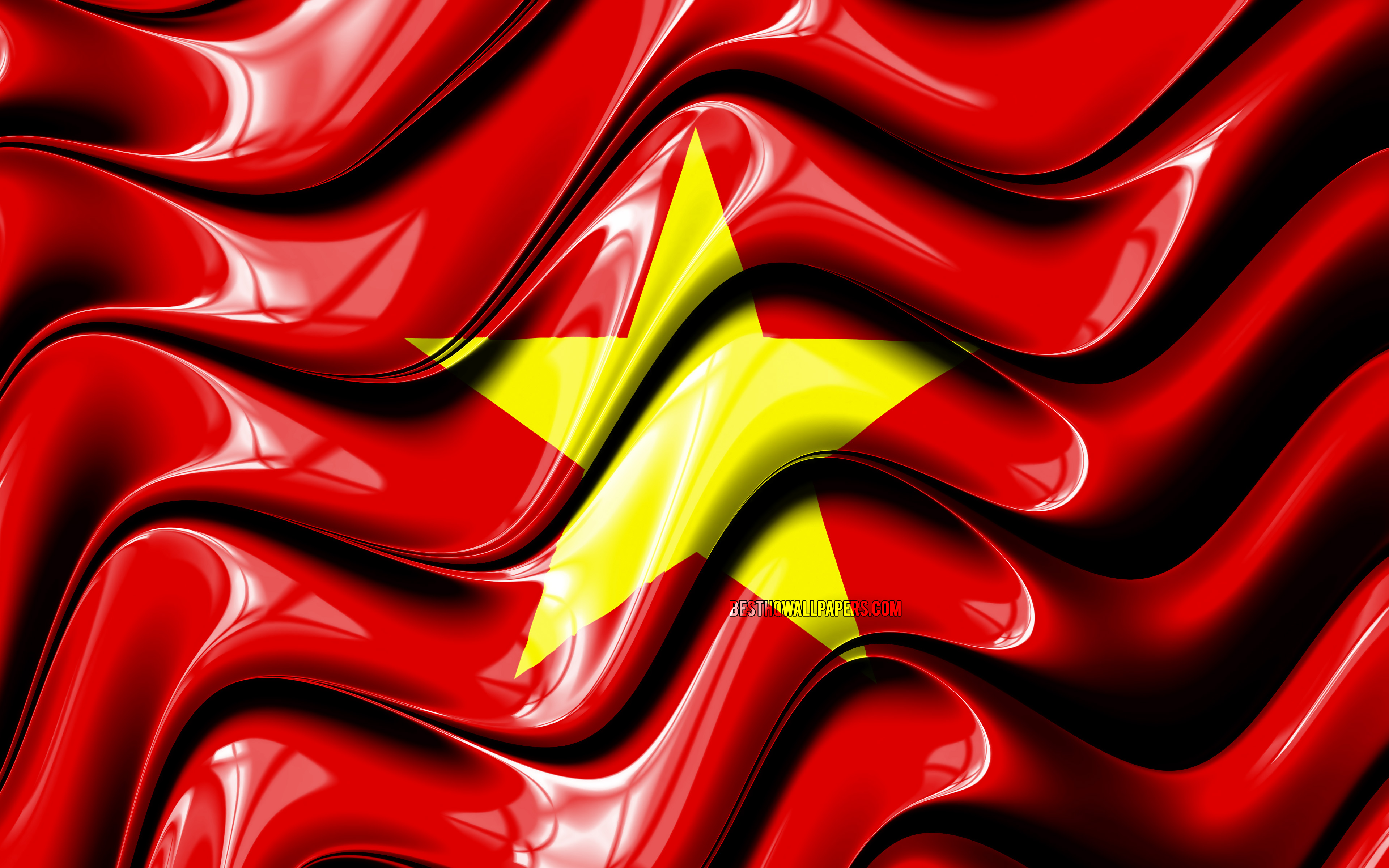 3840x2400 Download wallpapers Vietnamese flag, 4k, Asia, national ...