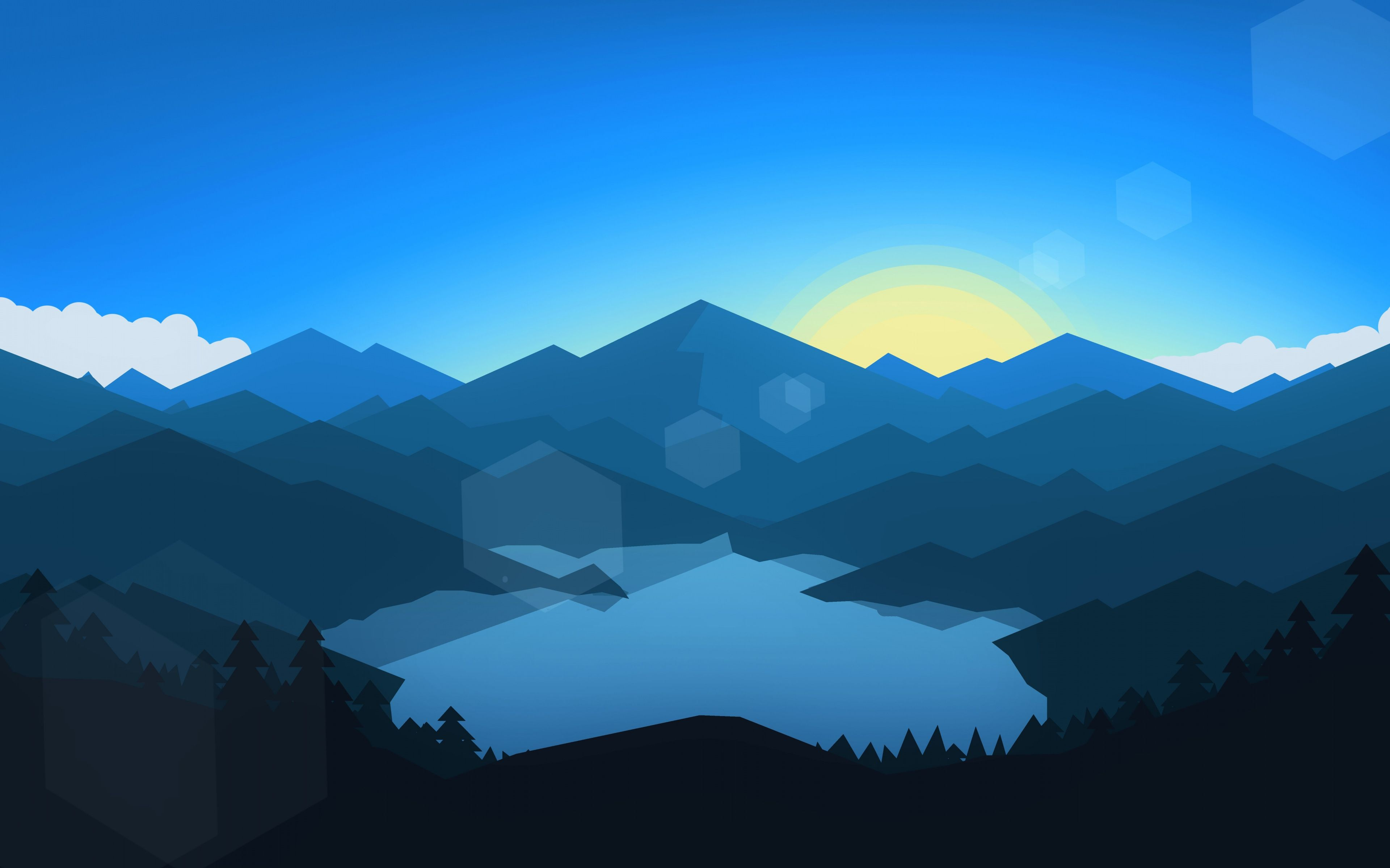 3840x2400 Download 3840x2400 wallpaper forest, mountains, sunset, cool weather ...