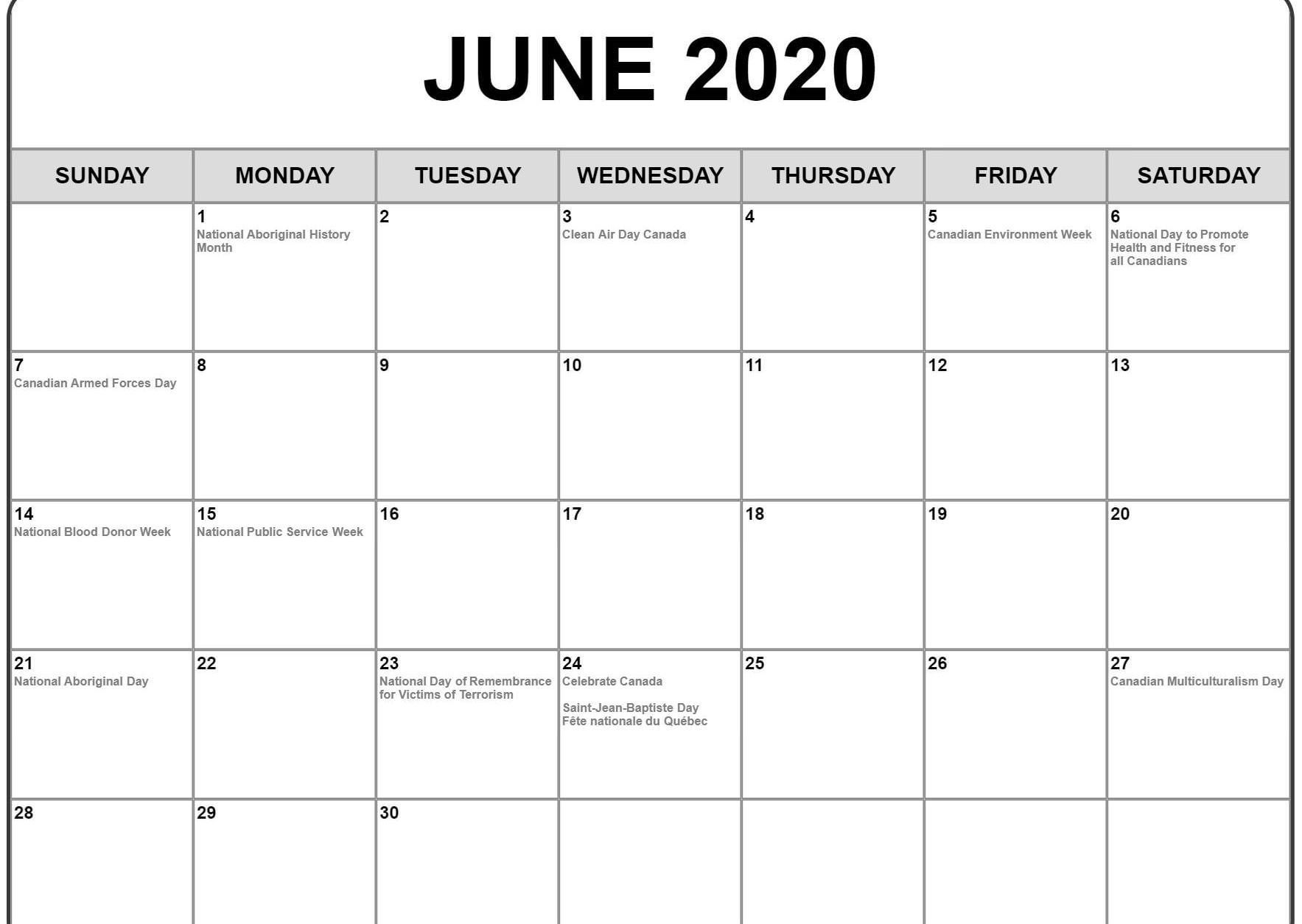 1767x1255 June 2020 Calendar with Holidays | Awesome Free Printable ...
